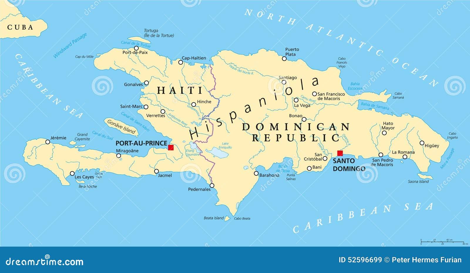 与海地和多米尼加共和国的伊斯帕尼奥拉岛政治地图,位于加勒比岛小组图片