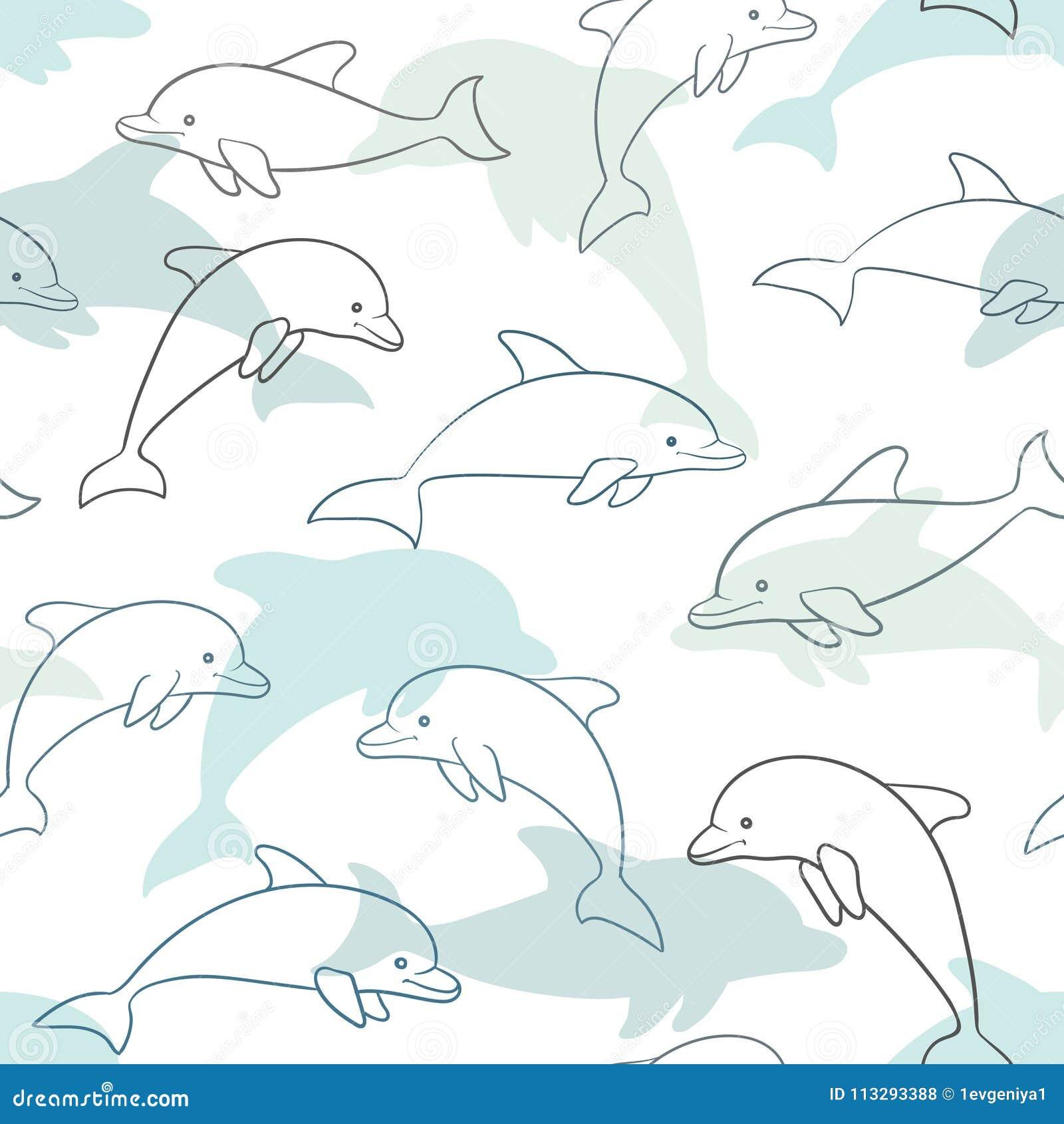 与海豚的无缝的样式在白色 为假日婴儿送礼会的贺卡和邀请,生日,儿童衣裳, s设计