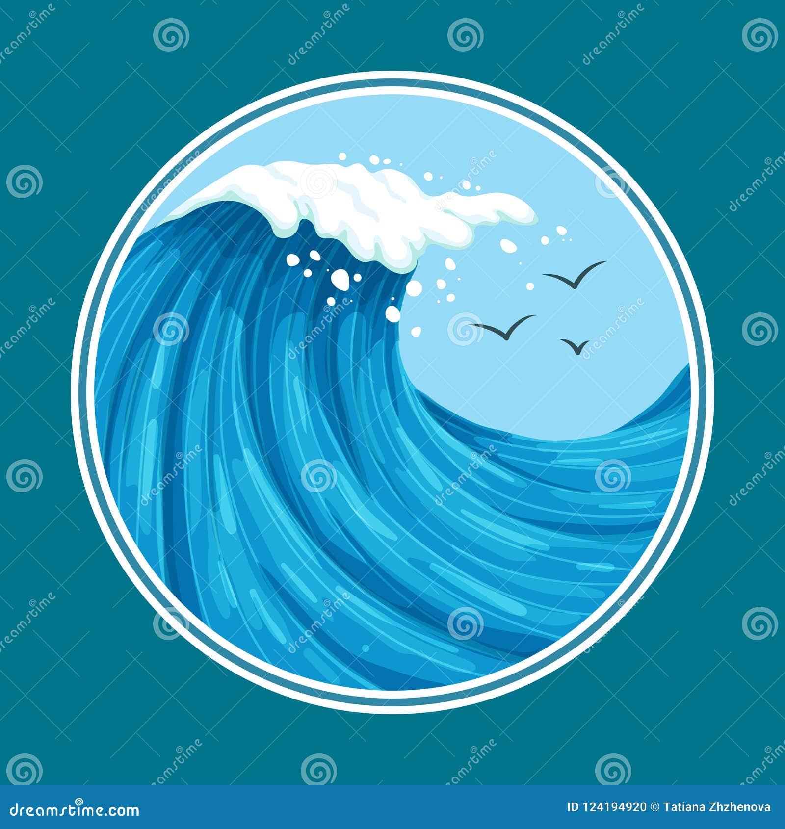 与海鸥的五颜六色的海浪与圆框架