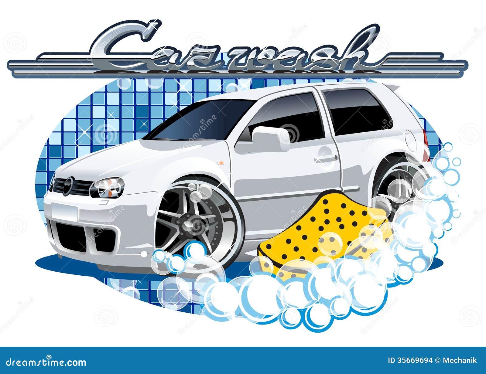 与海绵的汽车洗涤的标志