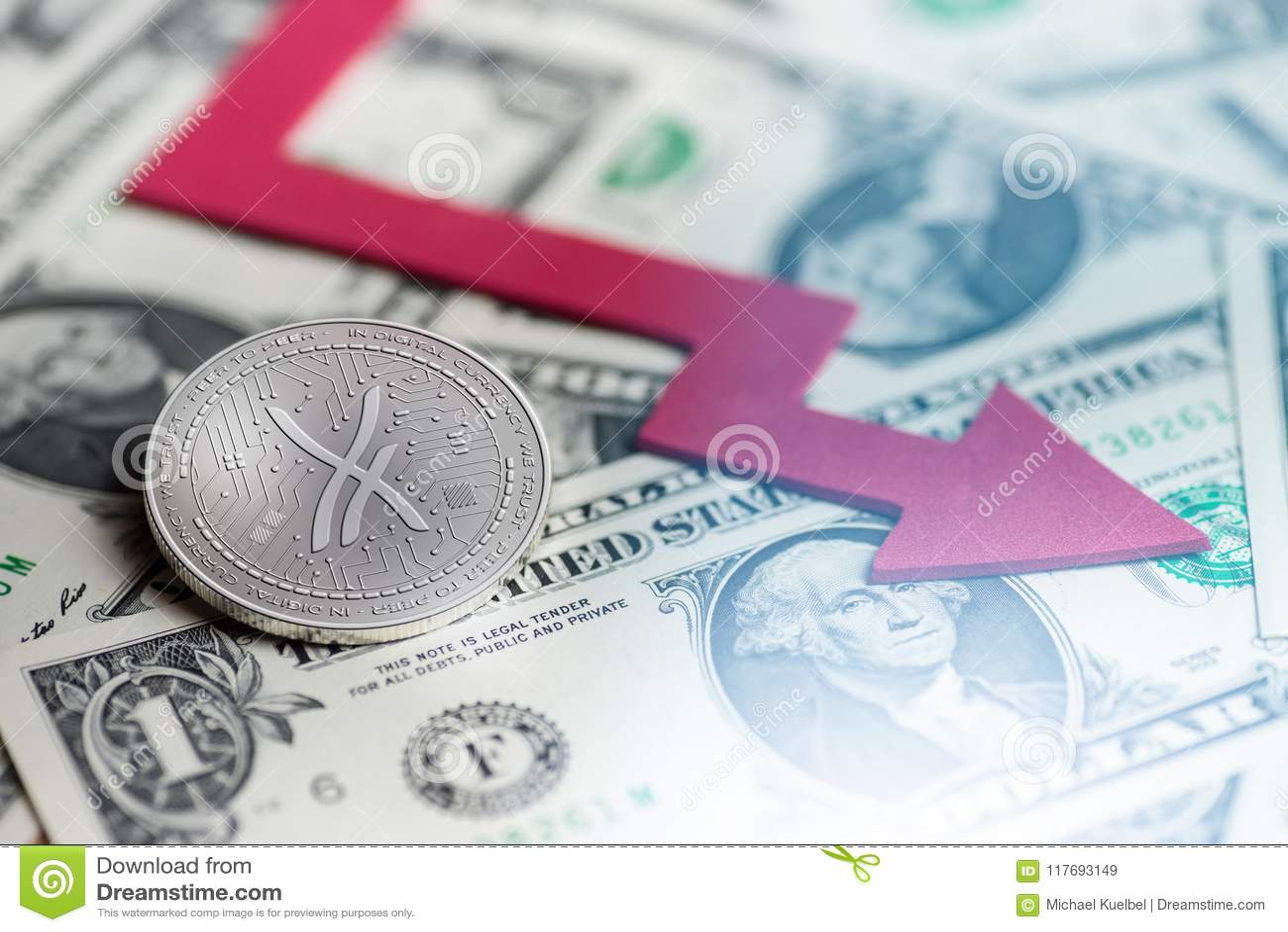 与消极图崩溃baisse落的失去的缺乏3d翻译的发光的银AIRPORN cryptocurrency硬币