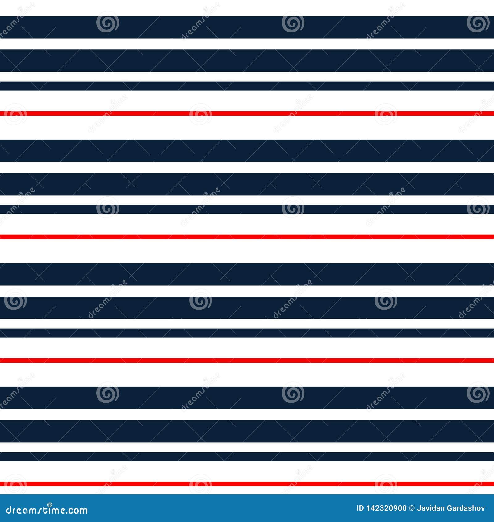 与深蓝,红色和白色水平的平行的条纹的条纹无缝的样式 向量背景 五颜六色的柔和的淡色彩