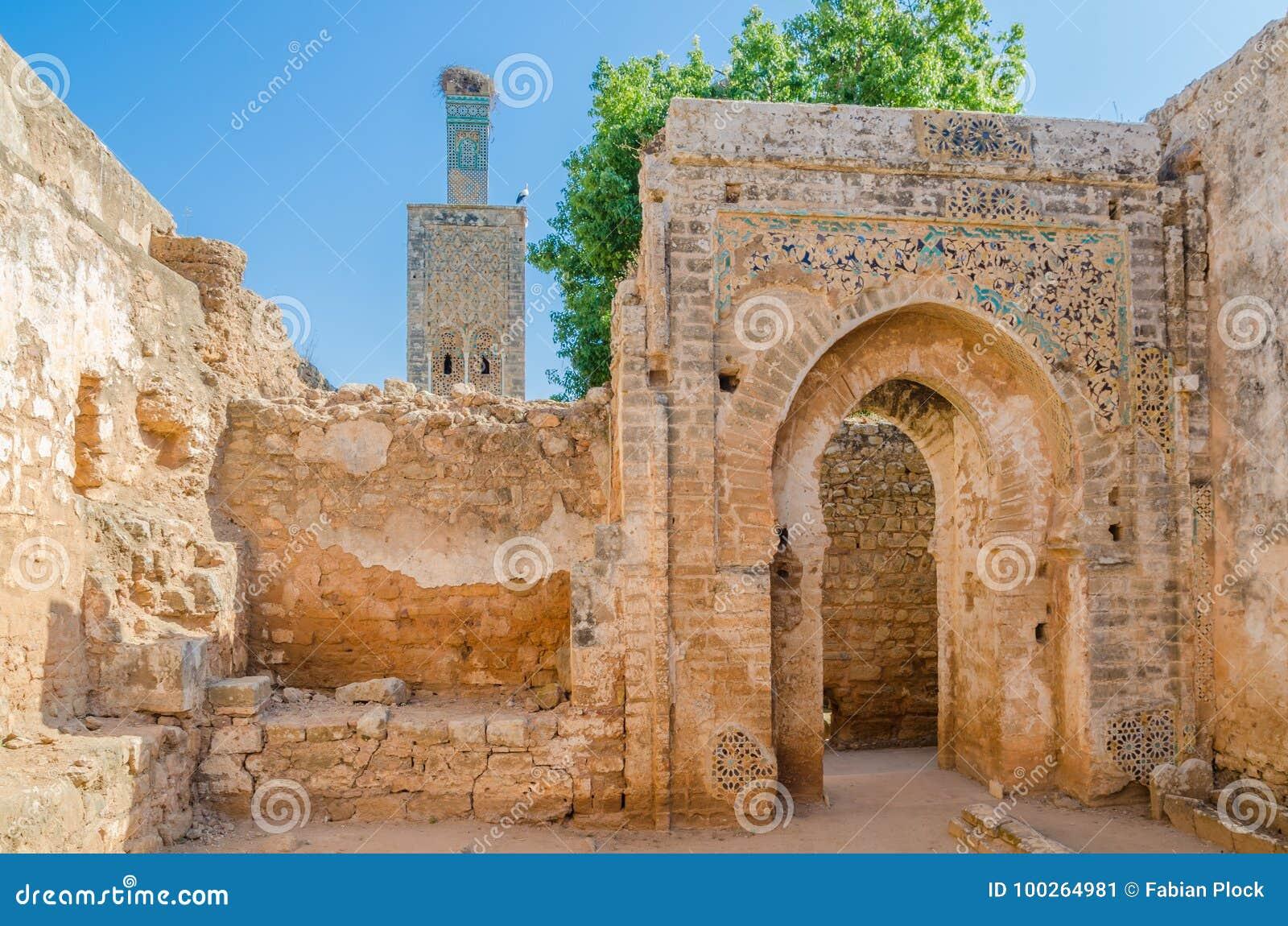 与清真寺和陵墓的古老Chellah大墓地废墟摩洛哥` s首都的拉巴特,摩洛哥,北非
