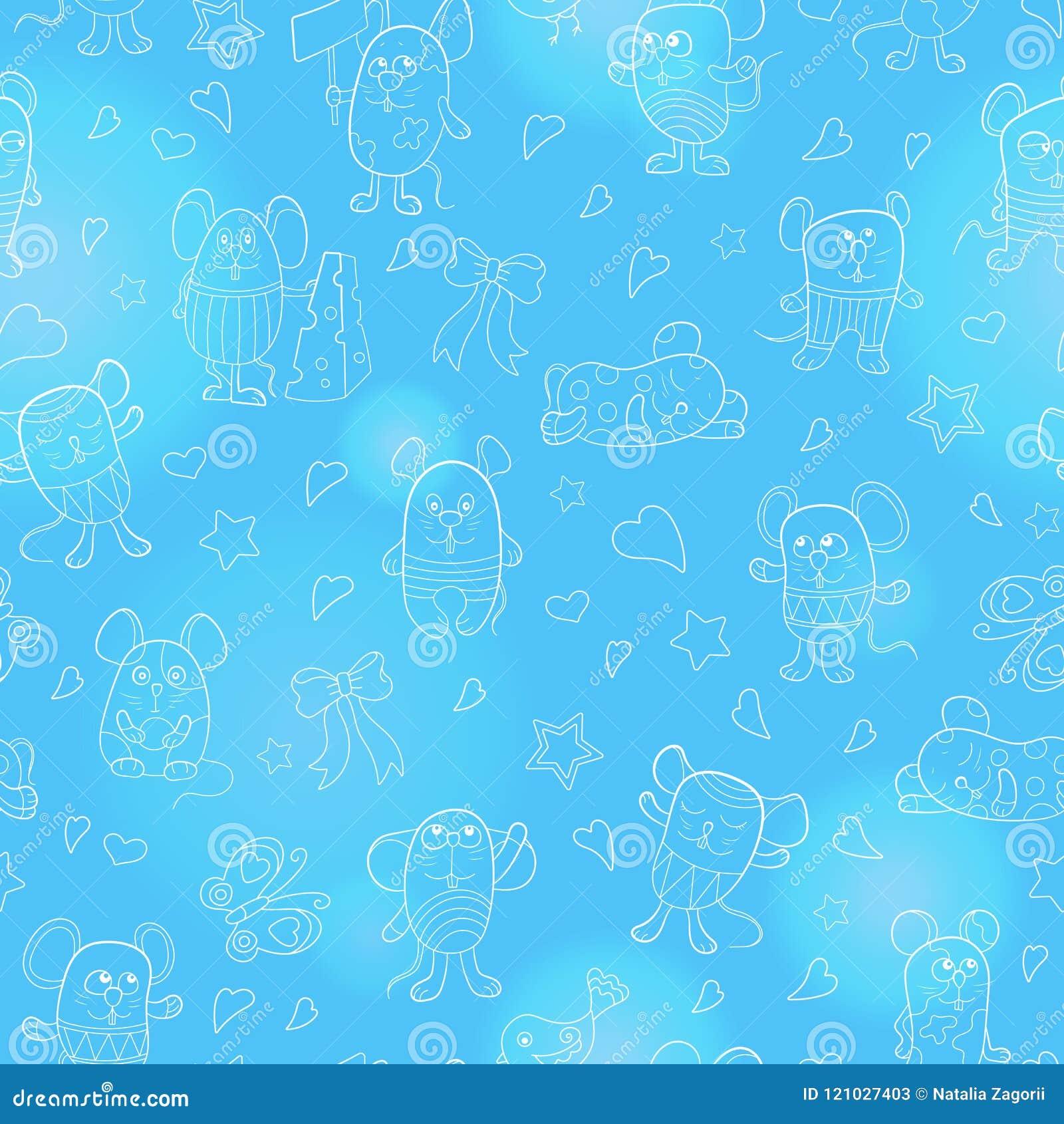 与滑稽的动画片等高mouses的无缝的例证,在蓝色背景的白色概述
