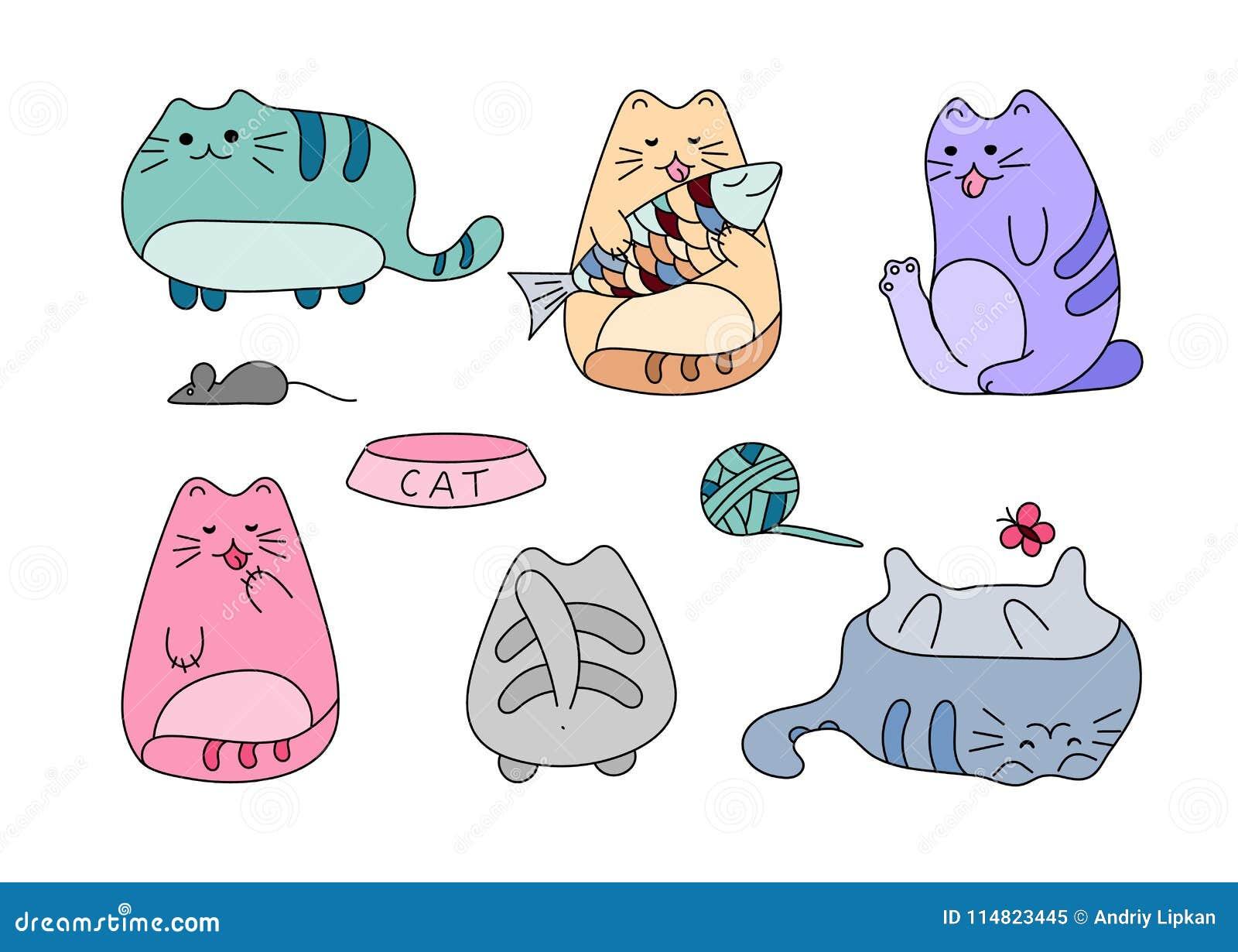 与滑稽的手拉的猫的传染媒介图象 动物与可爱的白色全部赌注的传染媒介例证