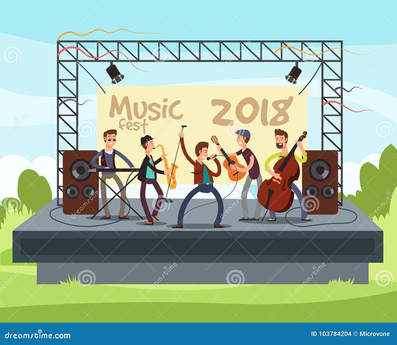 与演奏音乐的流行音乐带的室外夏天节日音乐会室外在阶段传染媒介例证