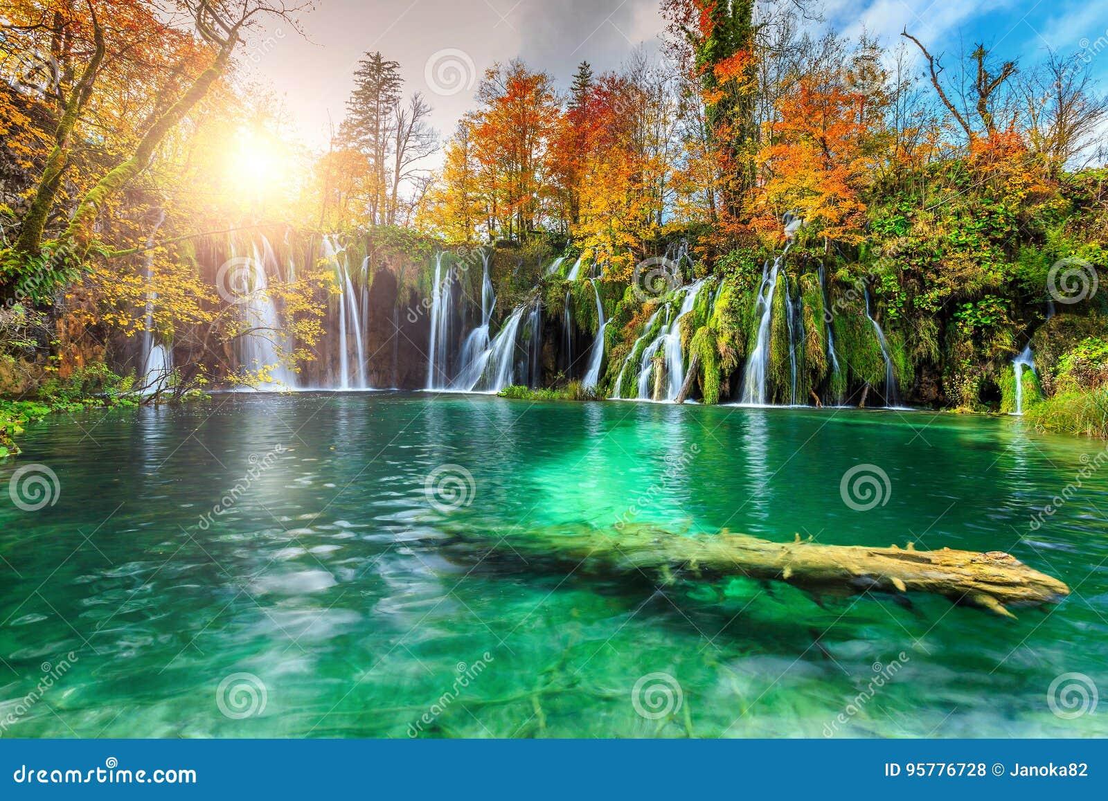 与瀑布的五颜六色的aututmn风景在Plitvice国家公园,克罗地亚