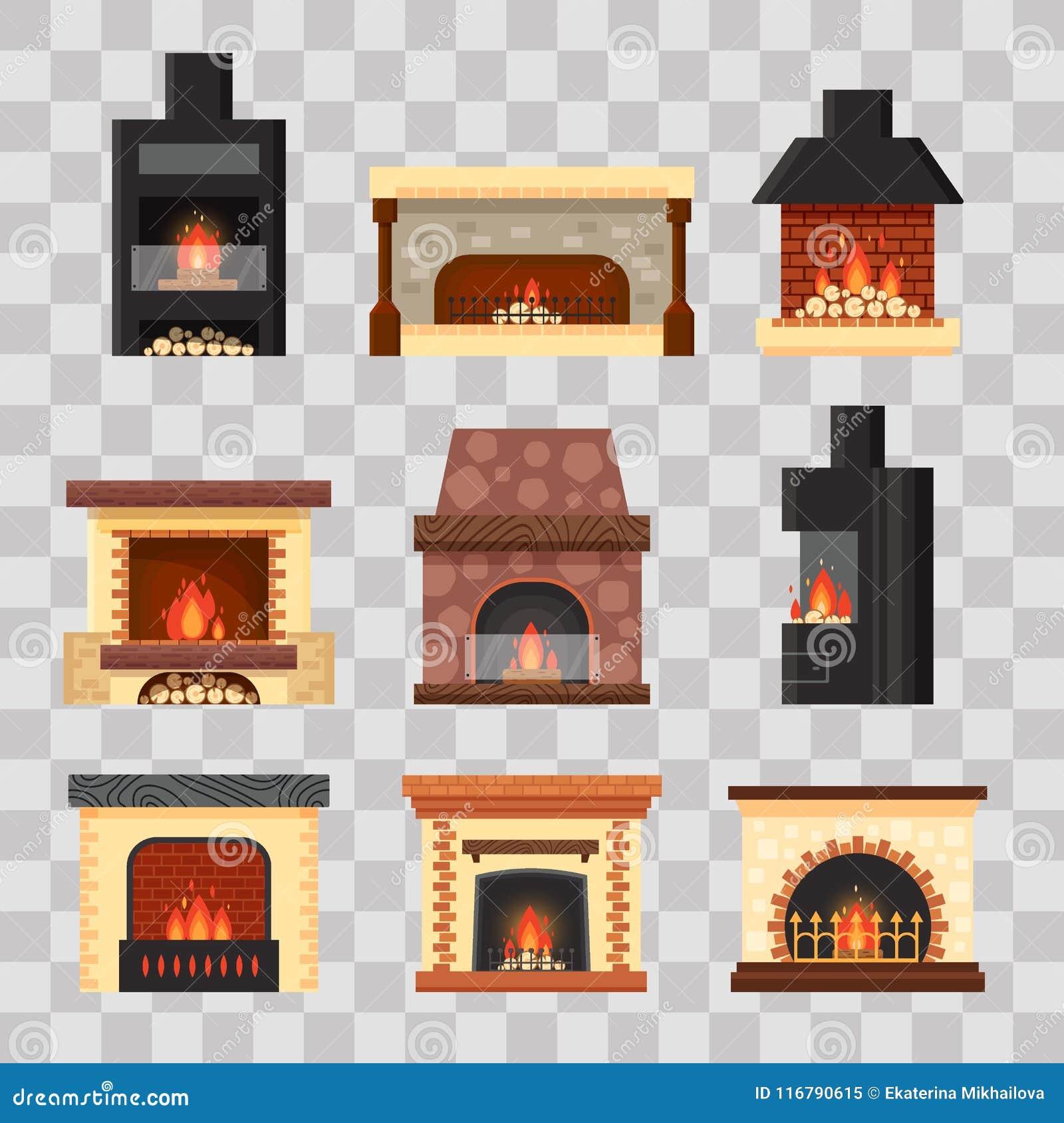 与火和木柴的传染媒介集合不同的五颜六色的家庭壁炉在透明背景 室的设计元素