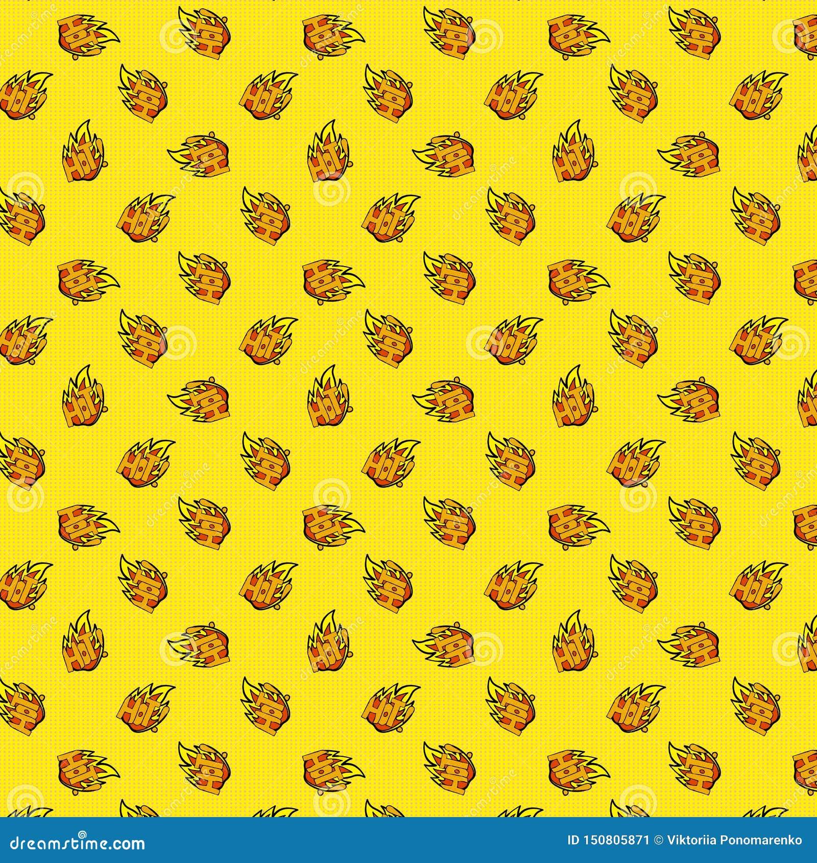 与火焰的无缝样式和热在黄色圆点背景 流行艺术样式