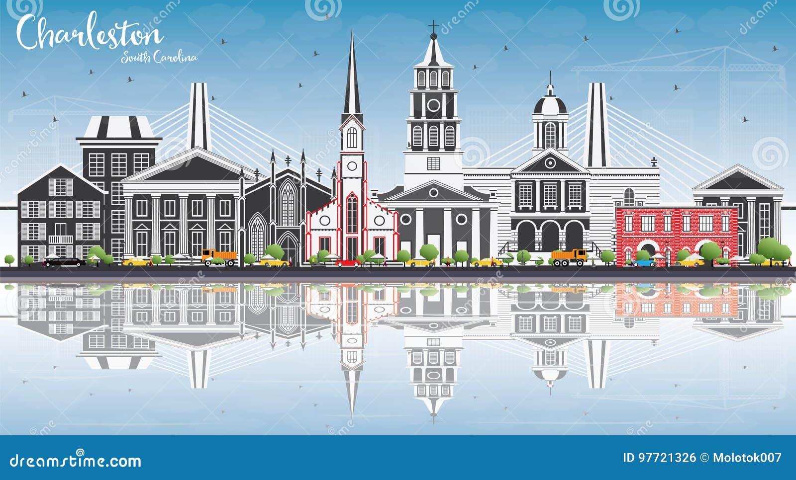 与灰色大厦的查尔斯顿南卡罗来纳地平线,蓝天