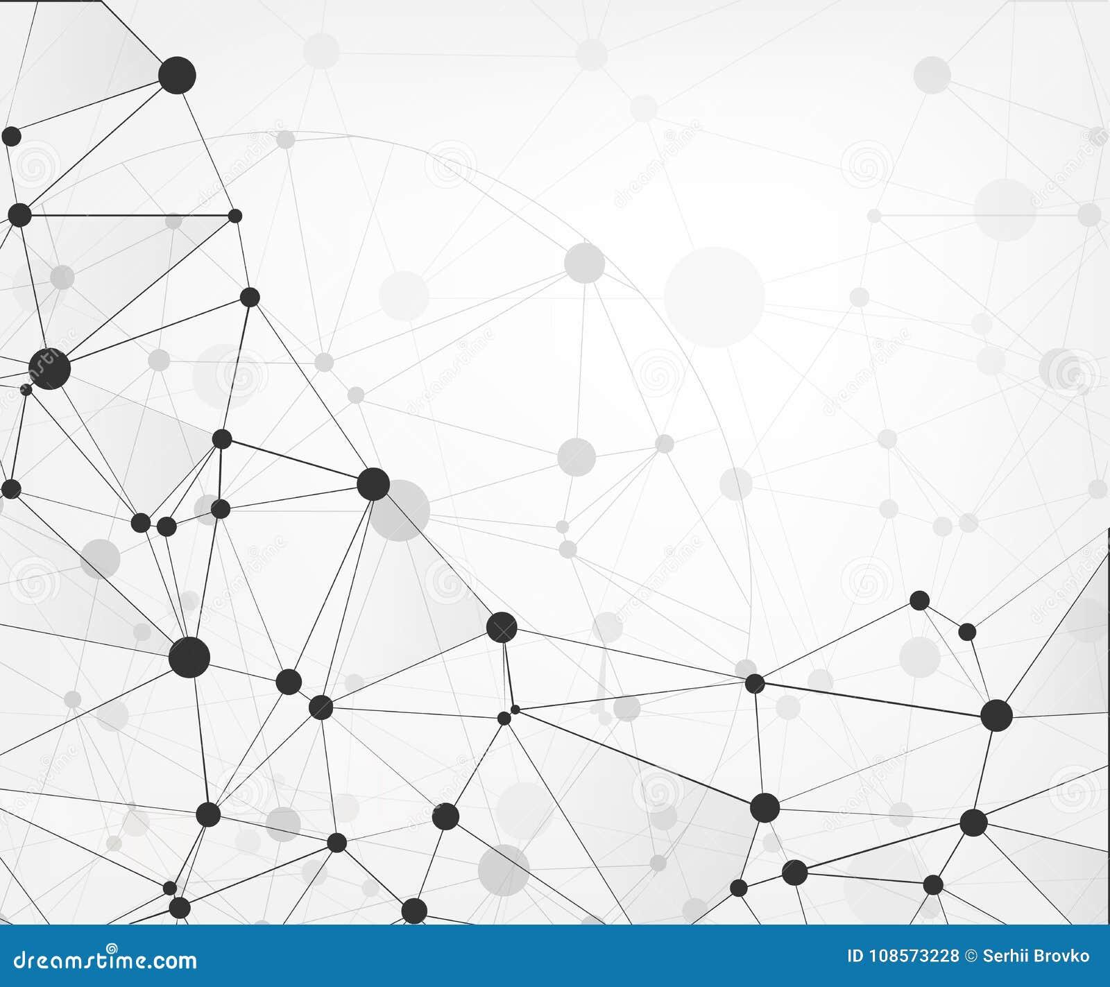 与点和线的全球网络连接 抽象背景技术 与被连接的点的分子结构 Vecto