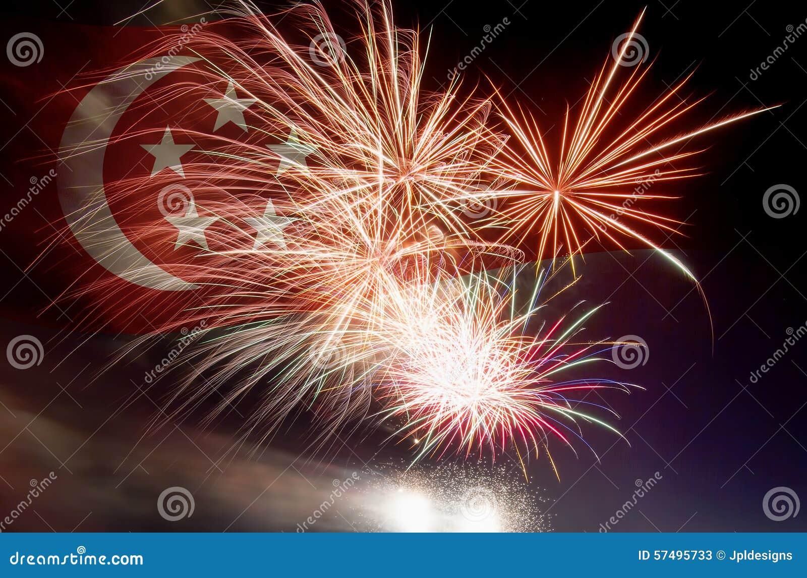 与烟花的新加坡旗子