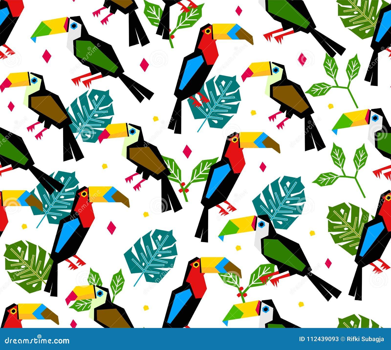 与热带叶子的无缝的toucan样式在白色背景