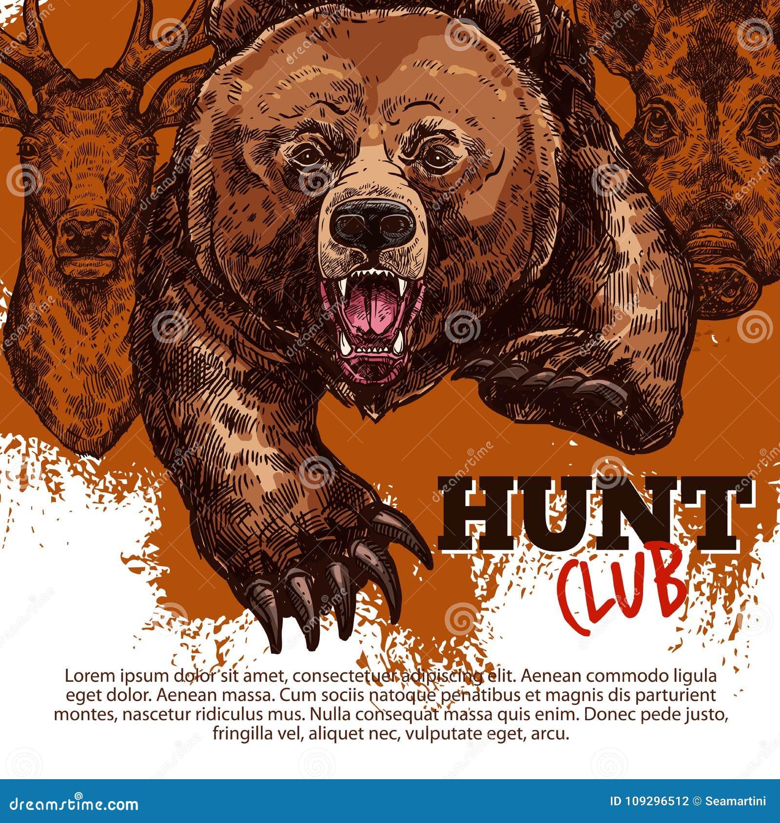 与熊,鹿,公猪动物的狩猎俱乐部海报