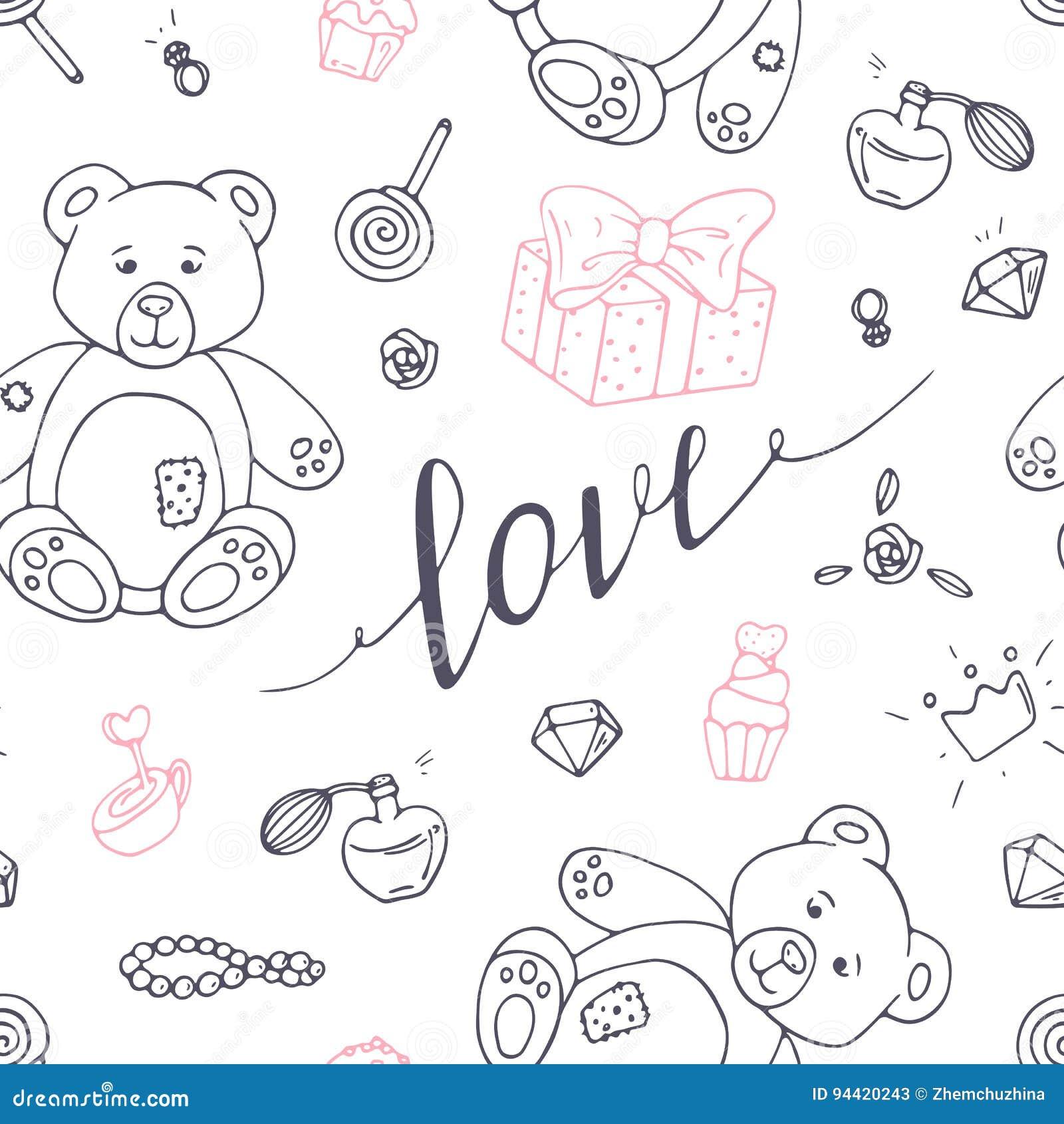 与爱手拉的标志的情人节概述无缝的样式