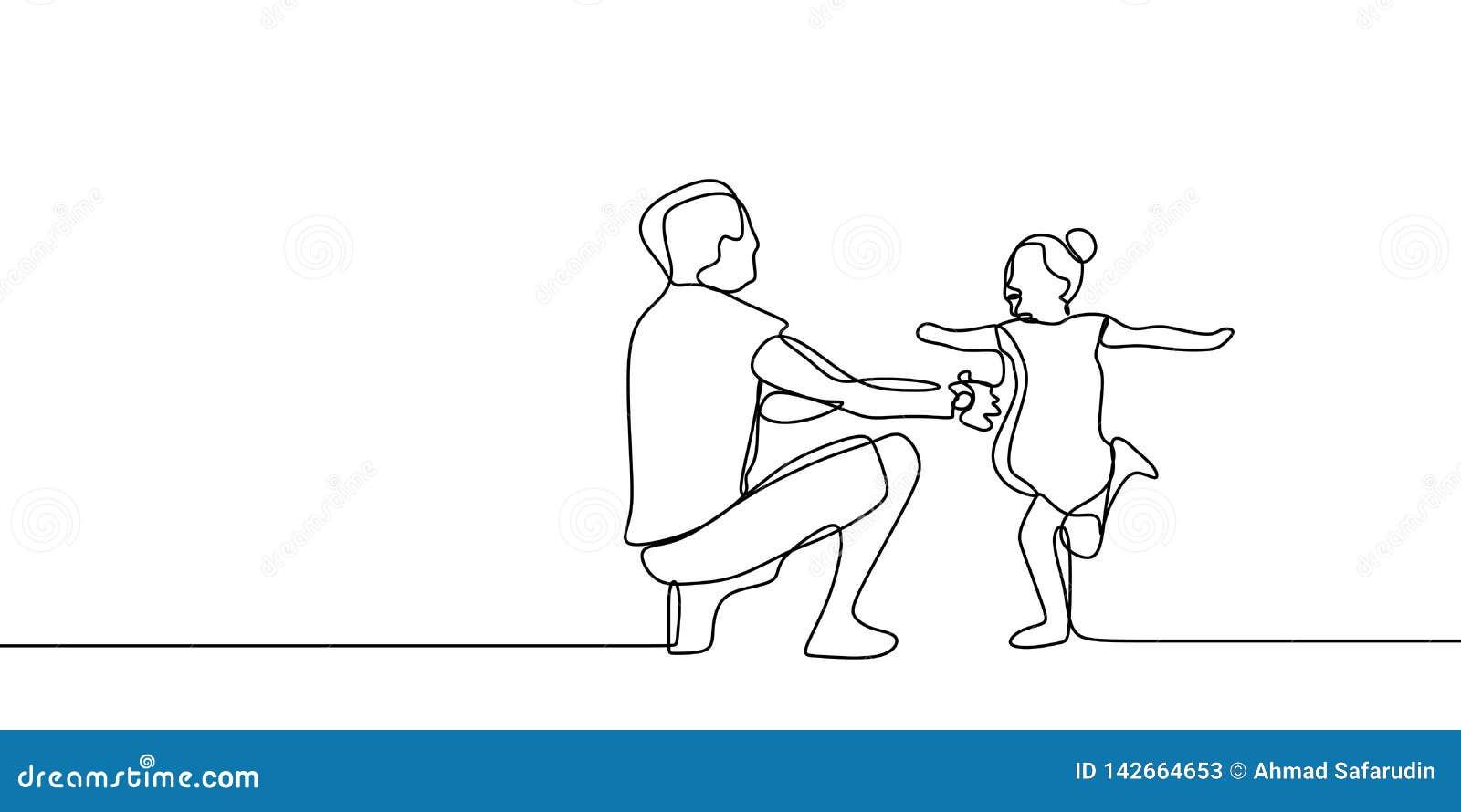 与父亲和他的女儿连续的一线描传染媒介例证的童年概念的滑稽的家庭时间