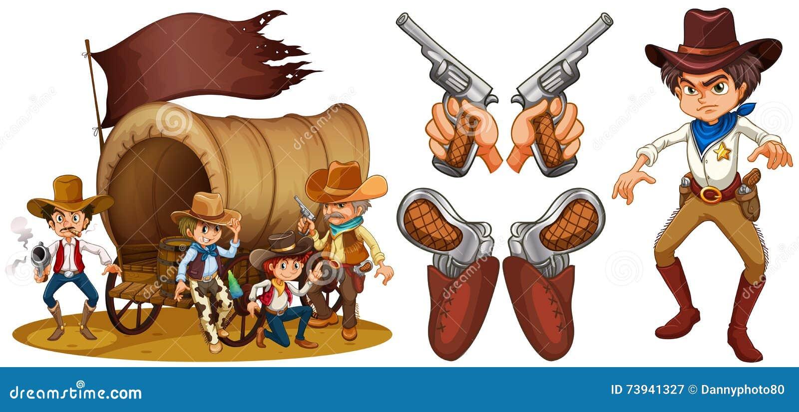 与牛仔和枪的西部集合