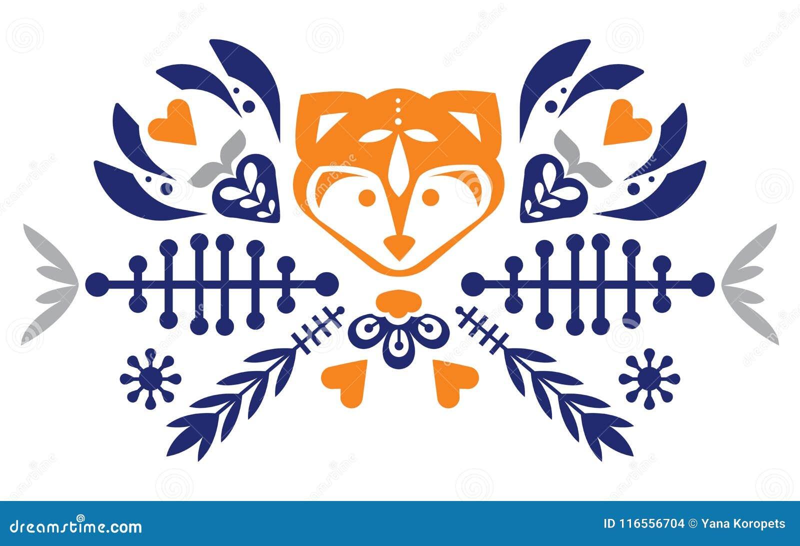 与狐狸和花的民间逗人喜爱的民间样式 被仿造的重点 吉祥人 徽标