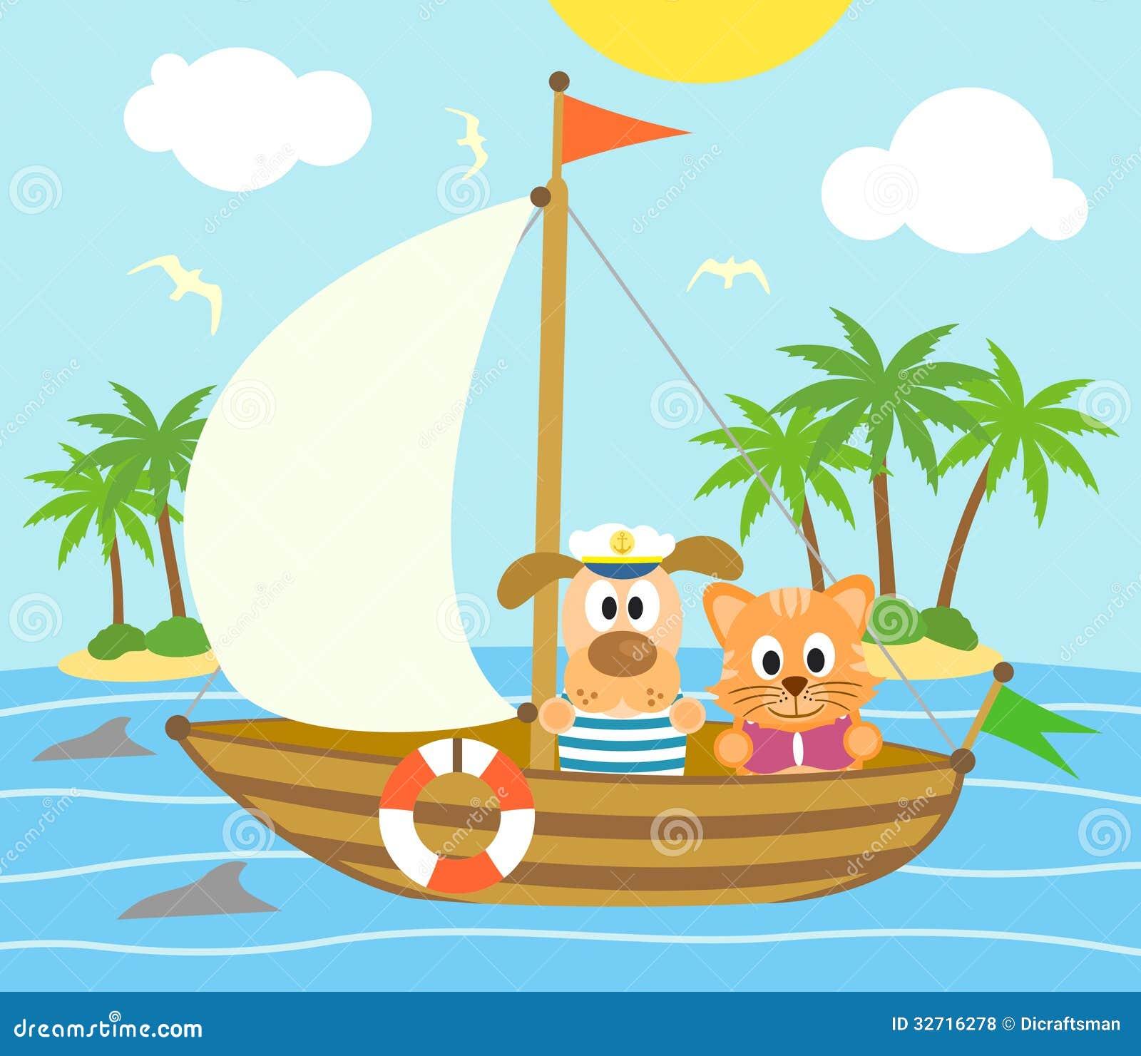 与滑稽的狗和猫的夏天背景在小船.图片