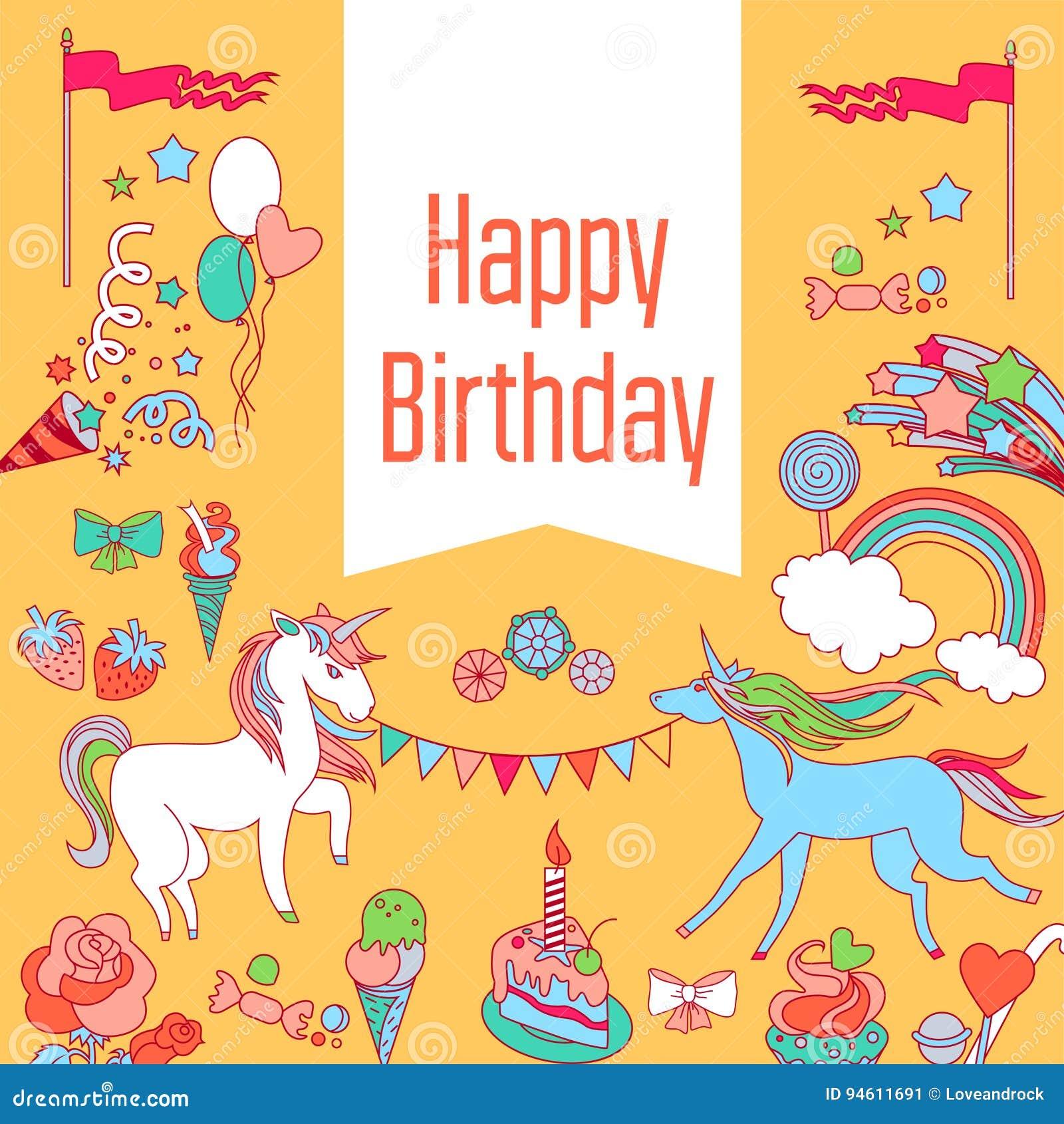 与独角兽、草莓、蛋糕、甜点、彩虹和baloons的生日快乐卡片