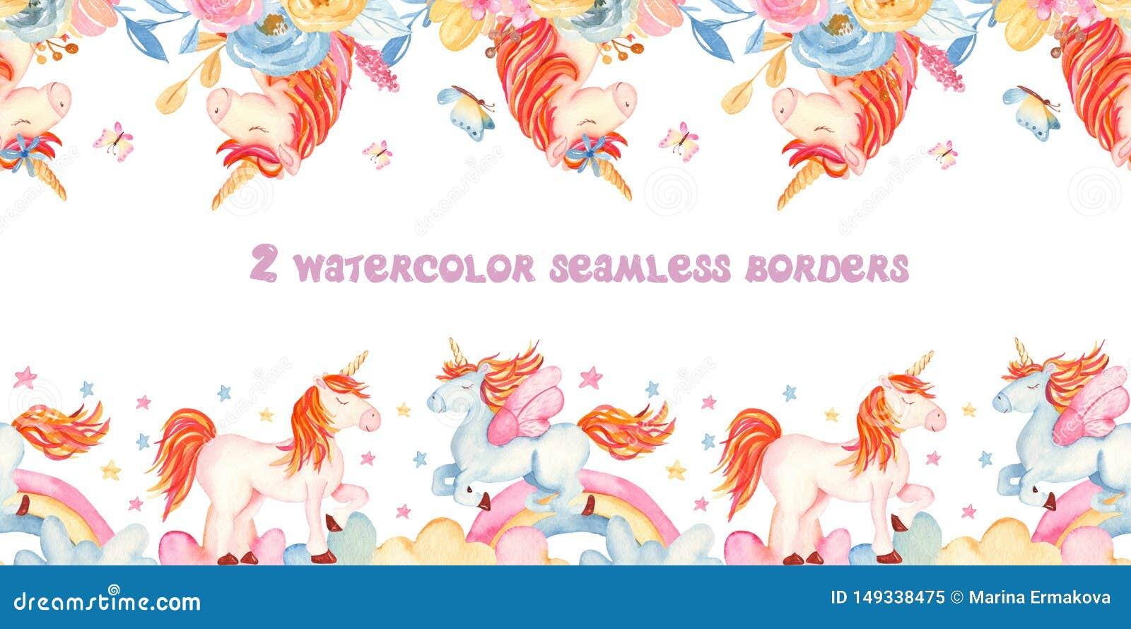 与独角兽的水彩无缝的边界,花,彩虹,金子