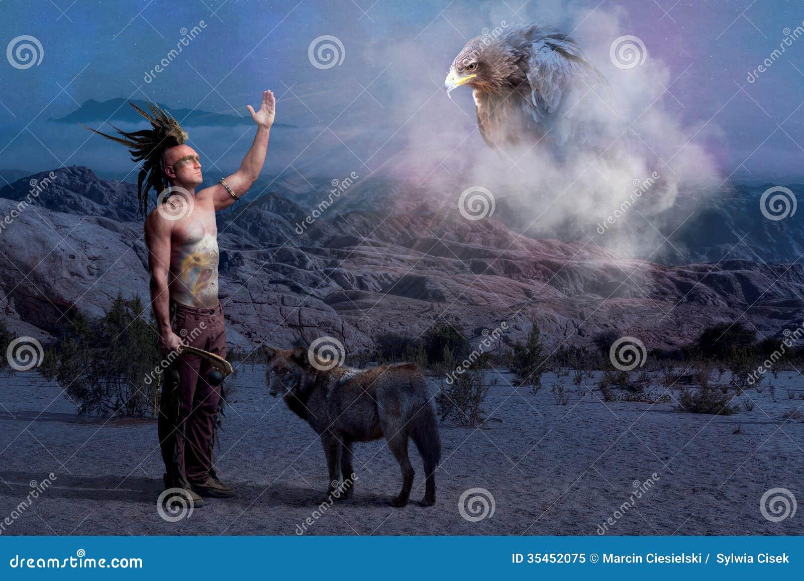 与狼和老鹰的美洲印第安人传奇