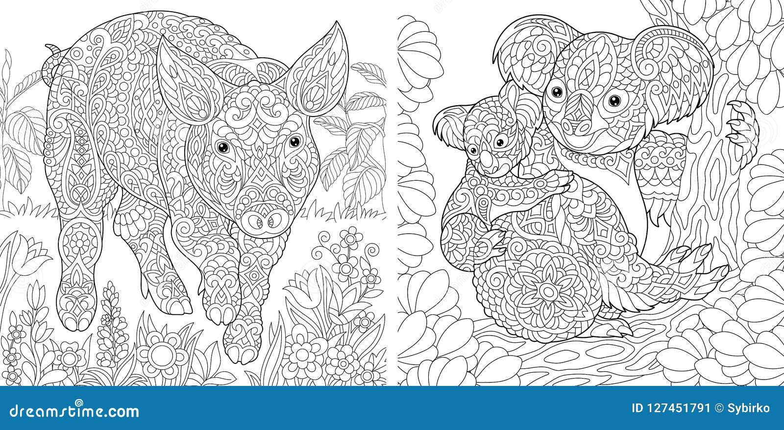 与猪和考拉的着色页