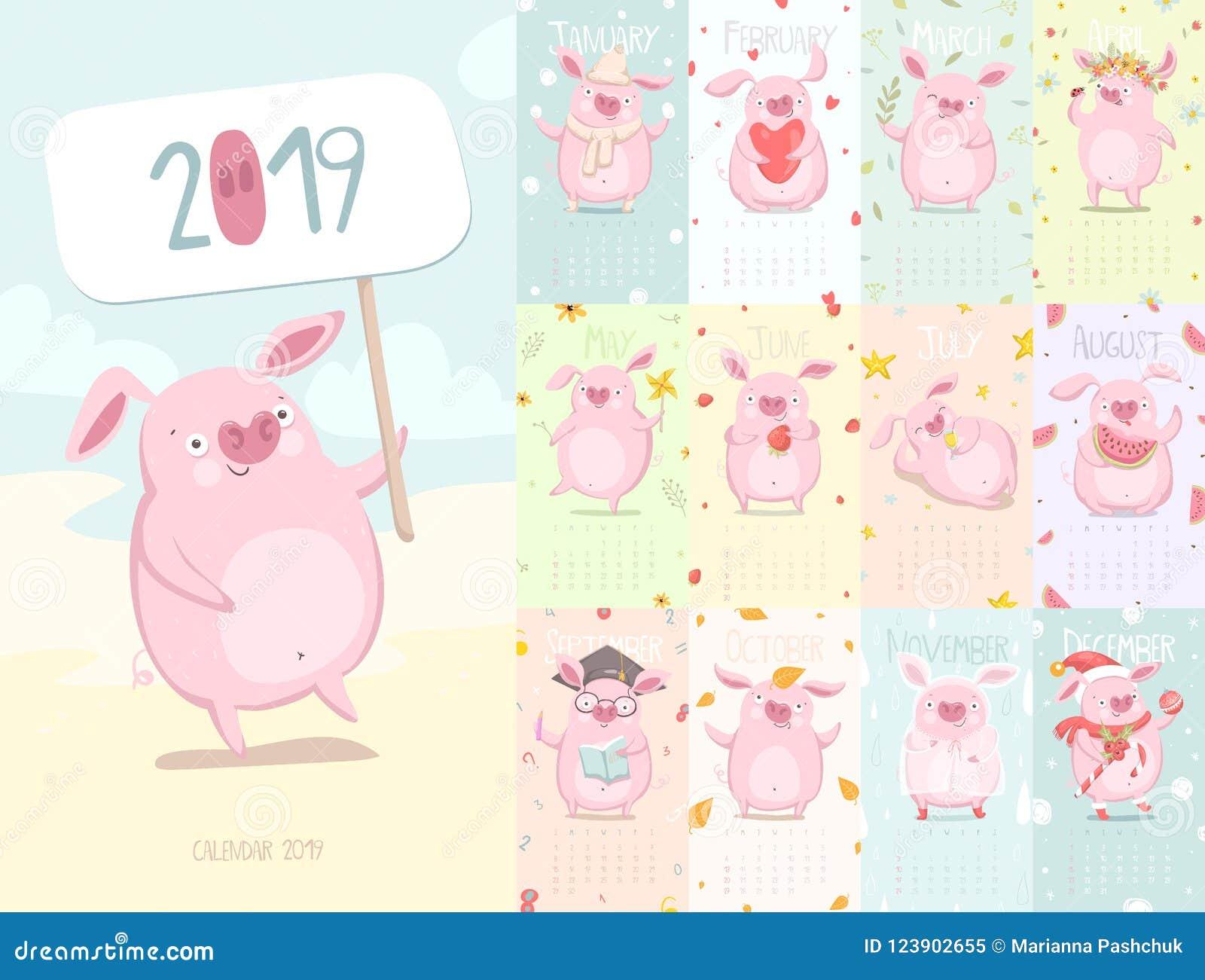 与猪的逗人喜爱的日历2019年