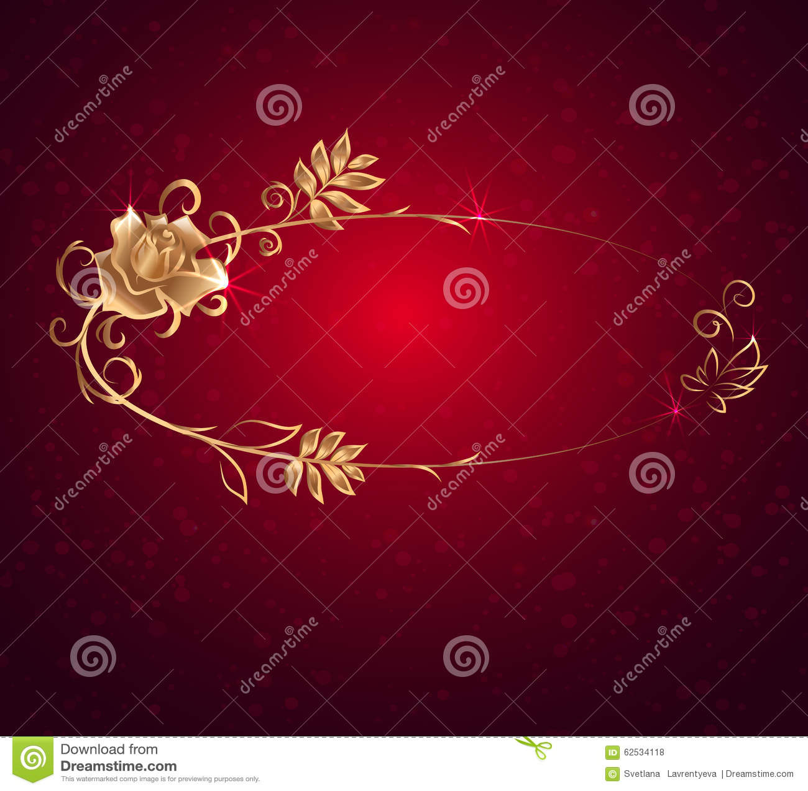 与玫瑰的卵形金框架