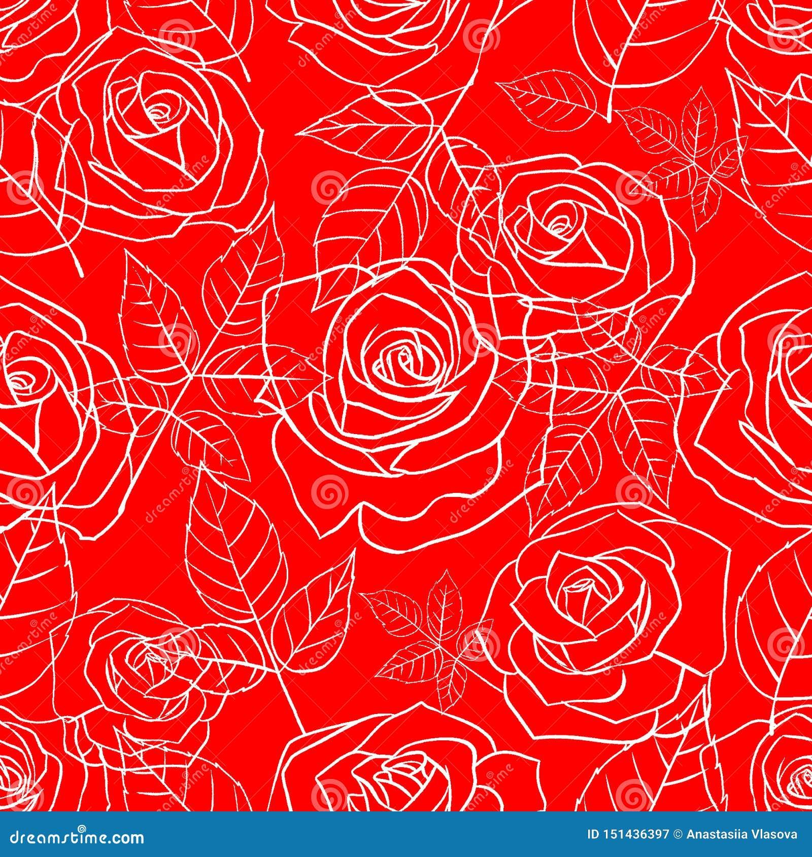 与玫瑰的无缝的样式在红色