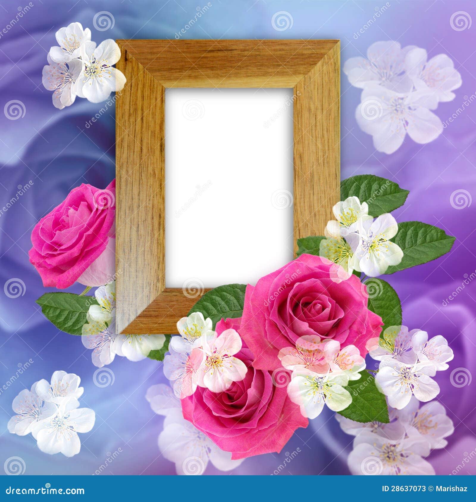 与玫瑰的木照片框架