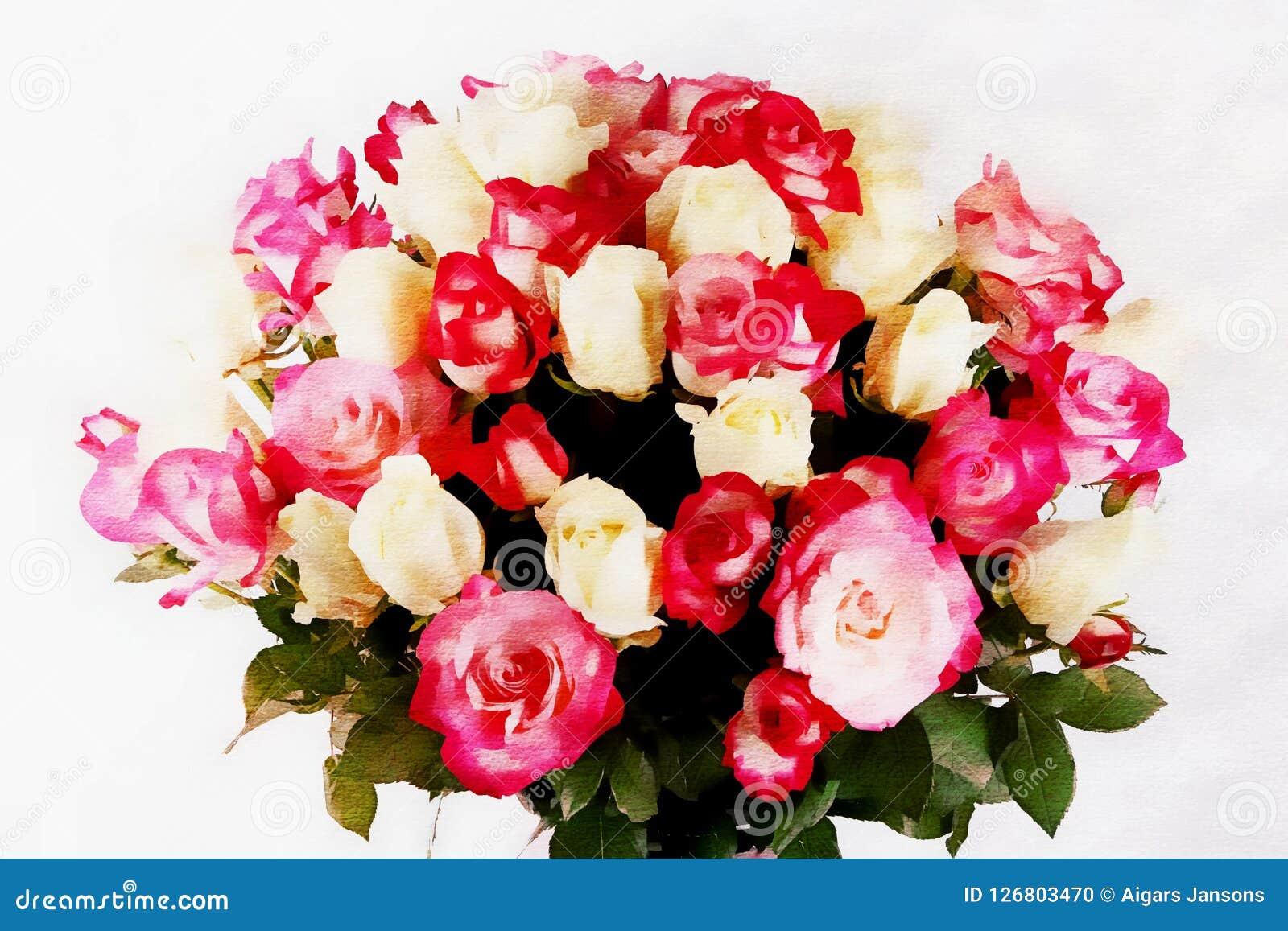 与玫瑰的美丽的新娘花束在白色背景,水彩样式