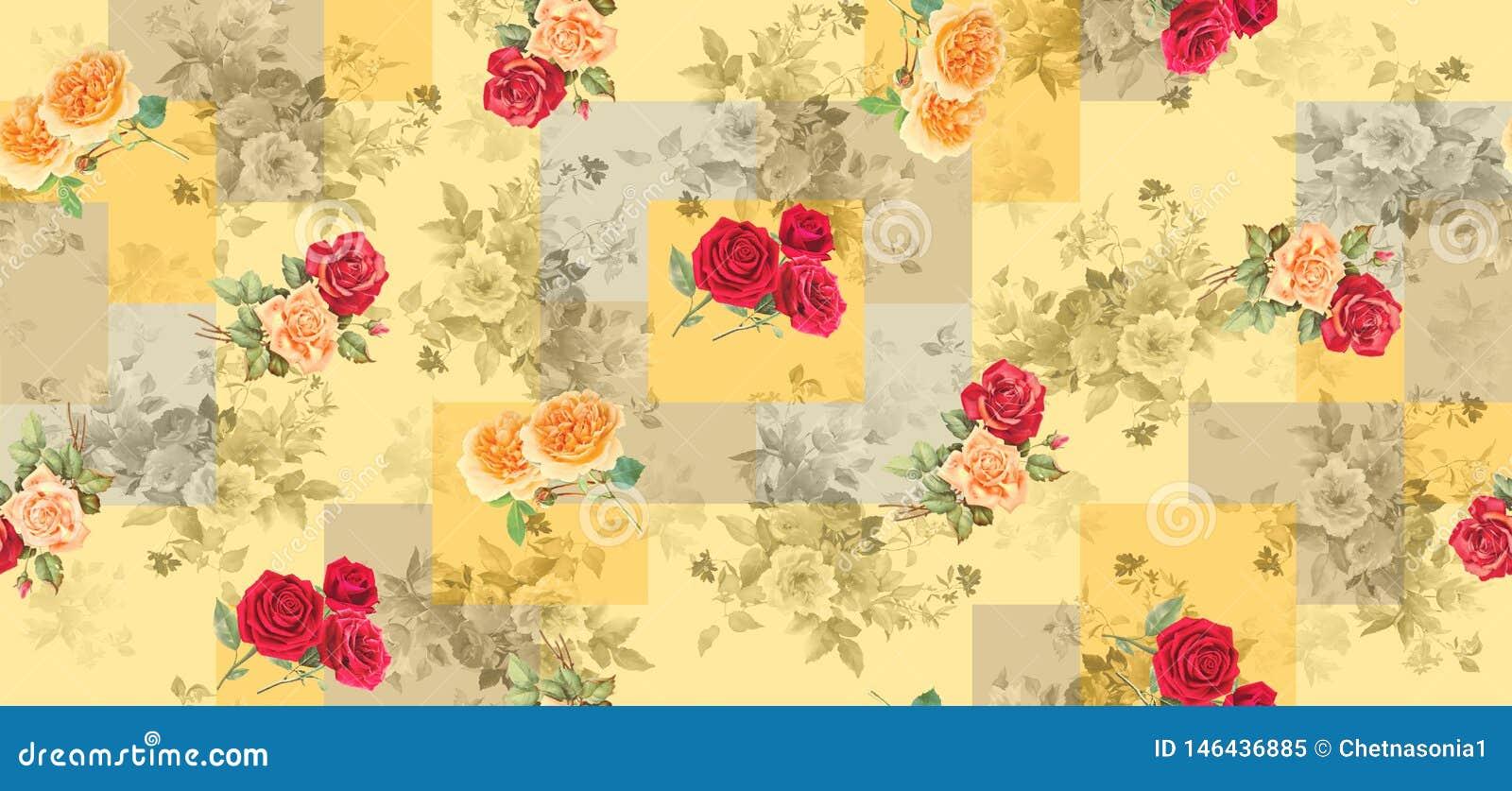 与玫瑰色花的无缝的几何背景纹理