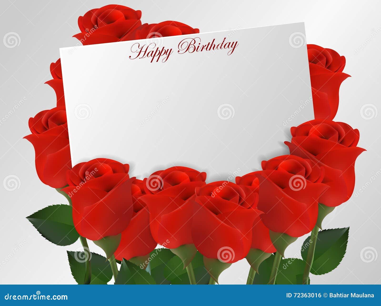 与玫瑰花的生日快乐卡片