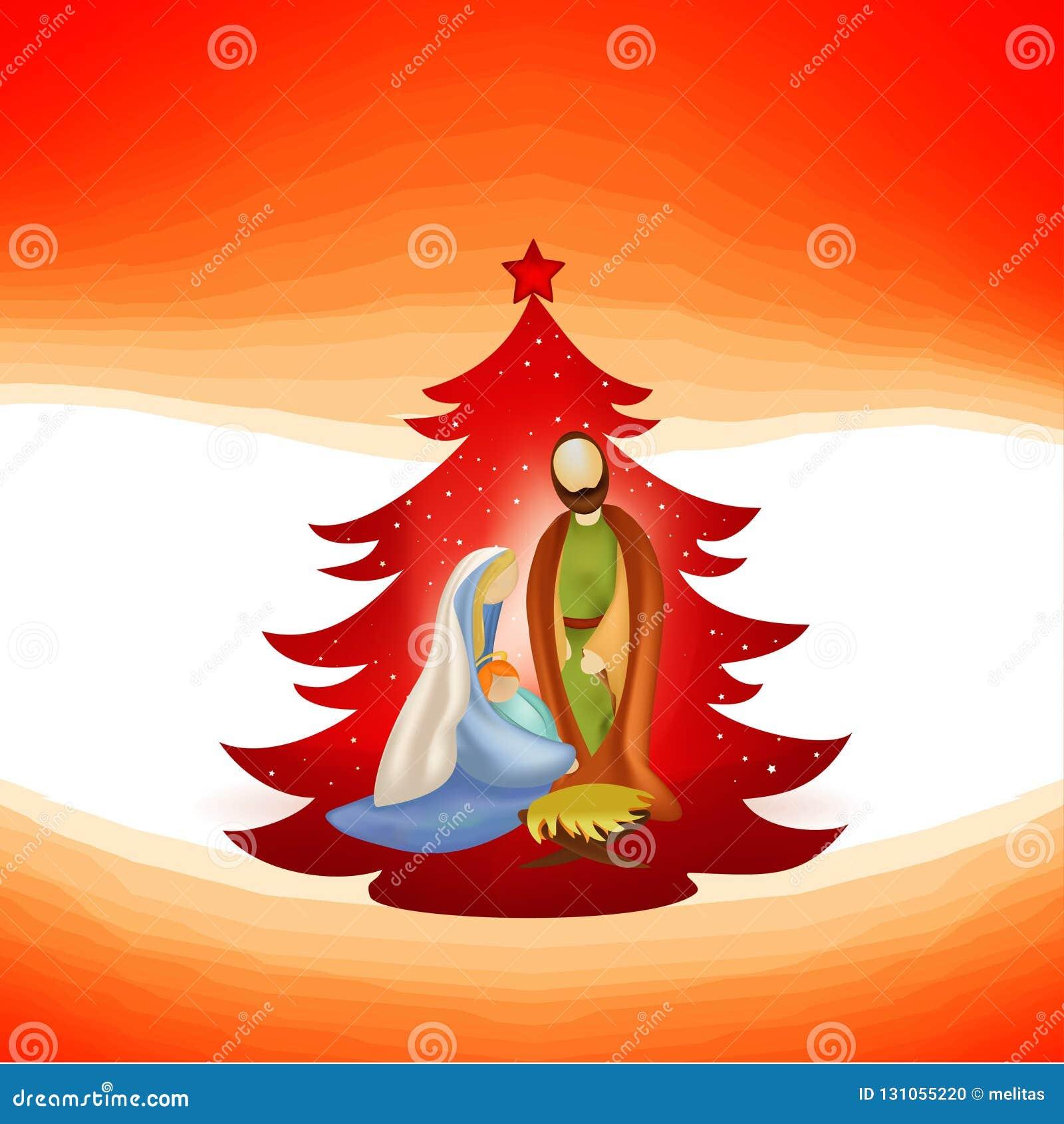 与现代诞生场面的圣诞树 约瑟夫和玛丽和耶稣她的胳膊的在红色背景