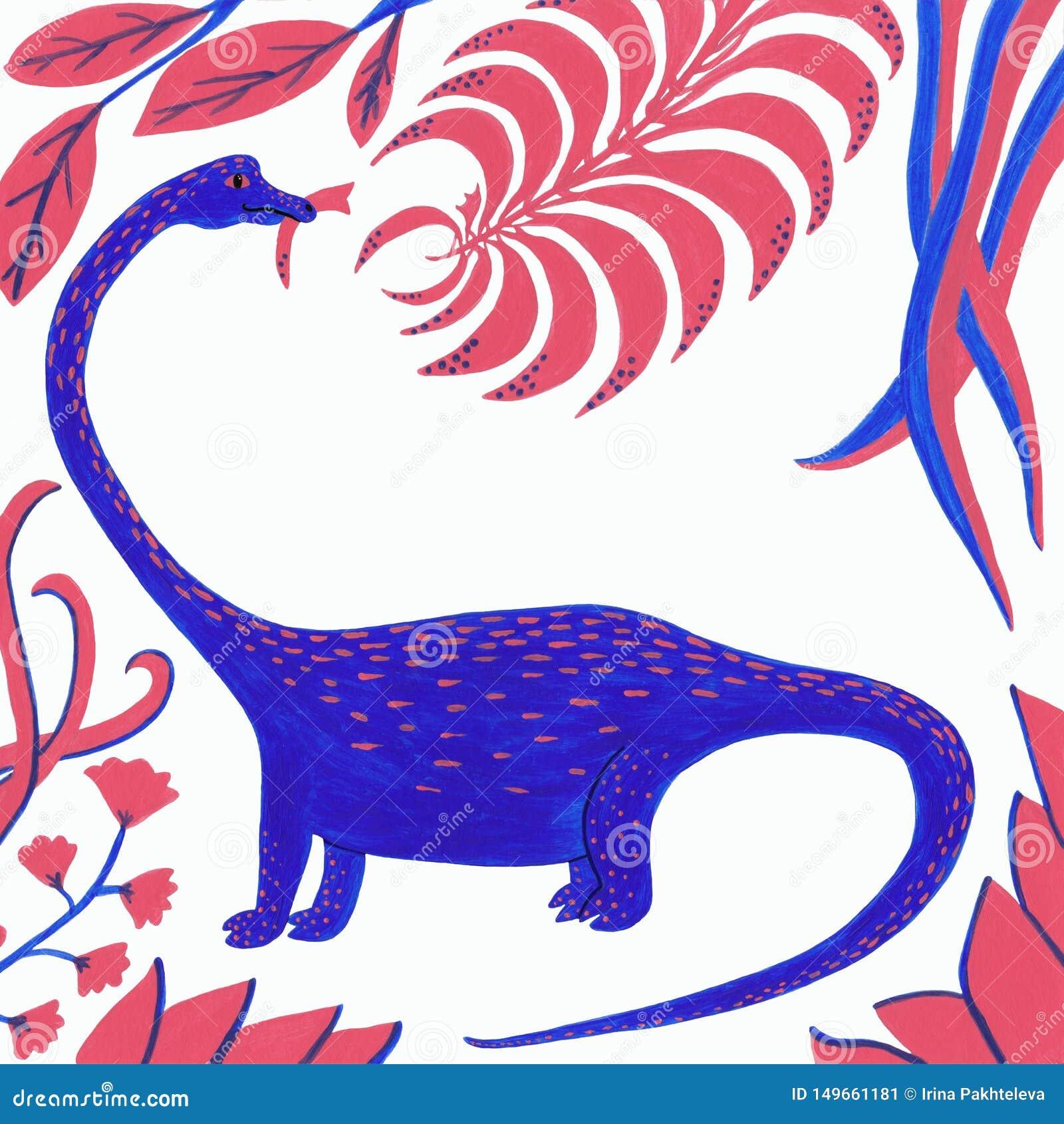 与珊瑚和蓝色叶子的蓝色恐龙在白色背景