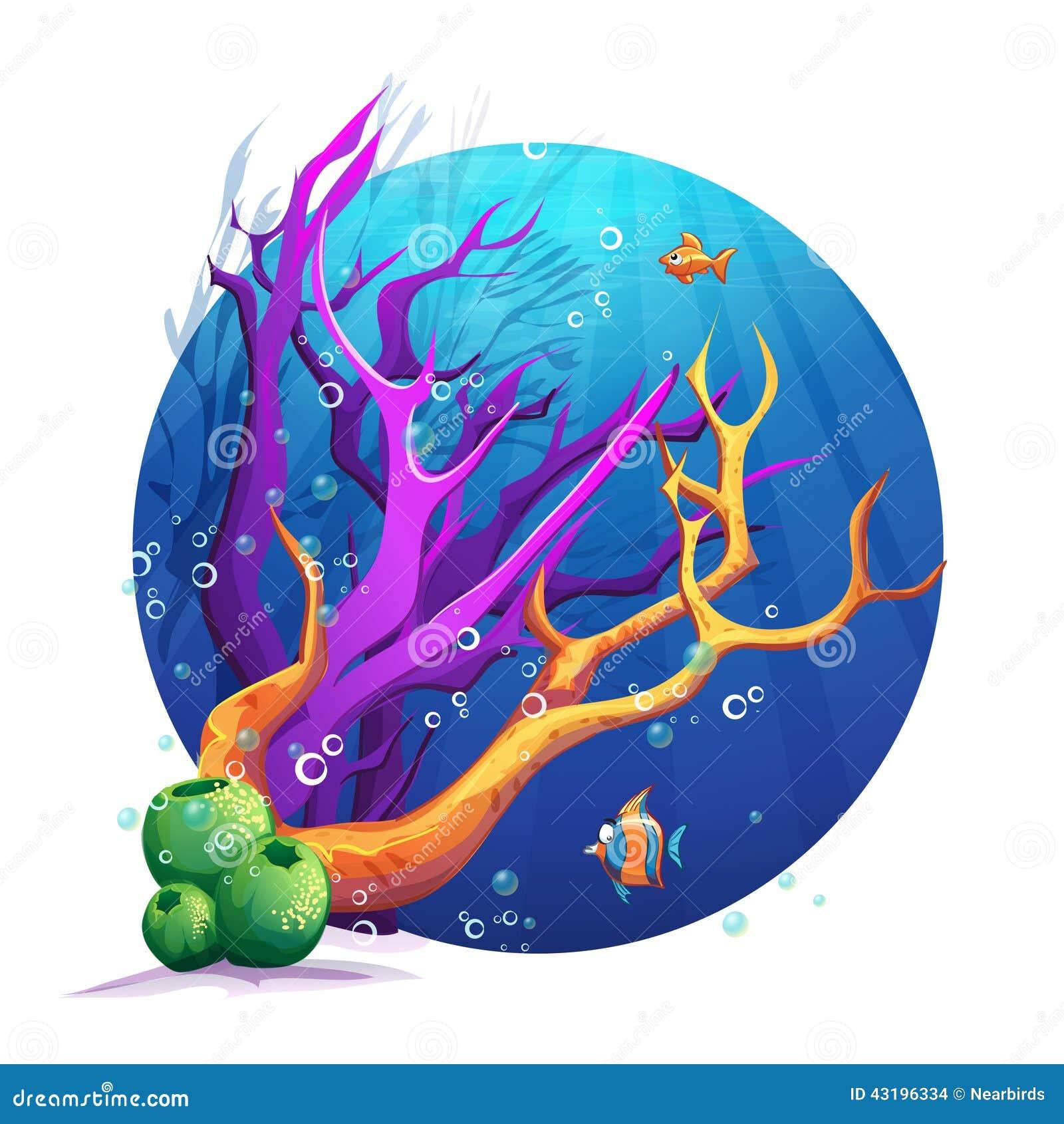 与珊瑚和鱼乐趣的水下的世界