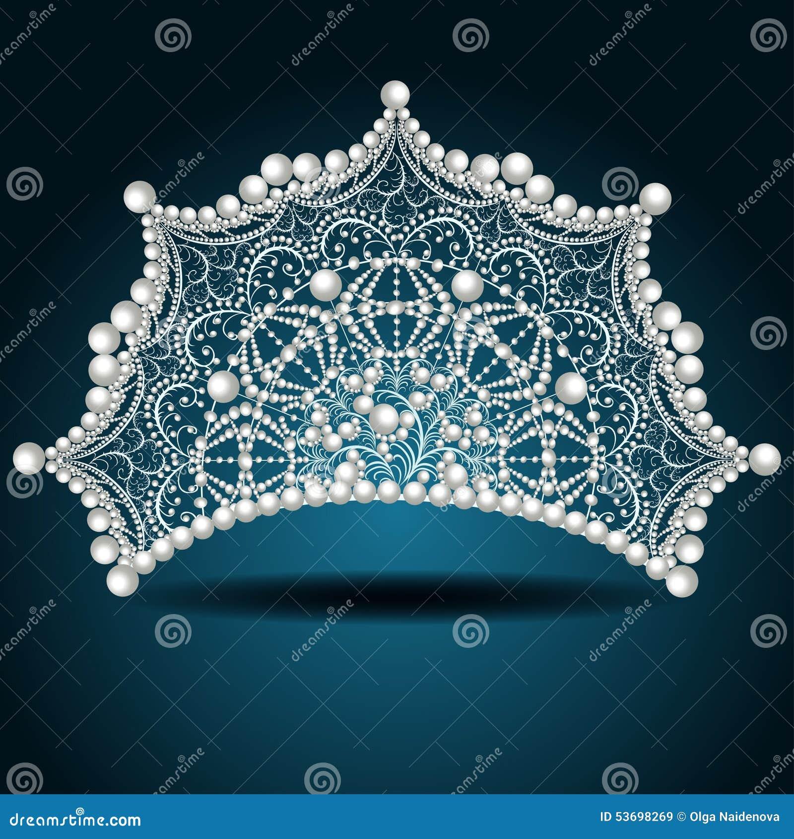 与珍珠白女性的冠冠状头饰