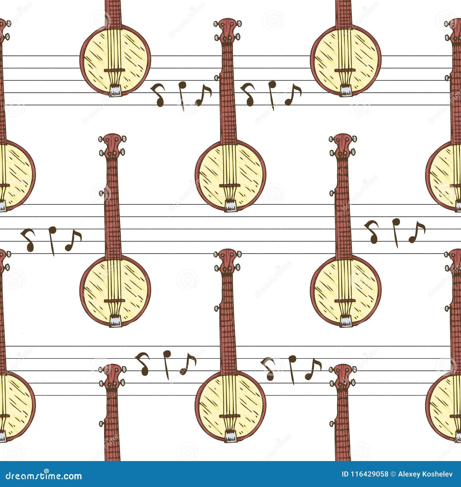 与班卓琵琶的无缝的样式