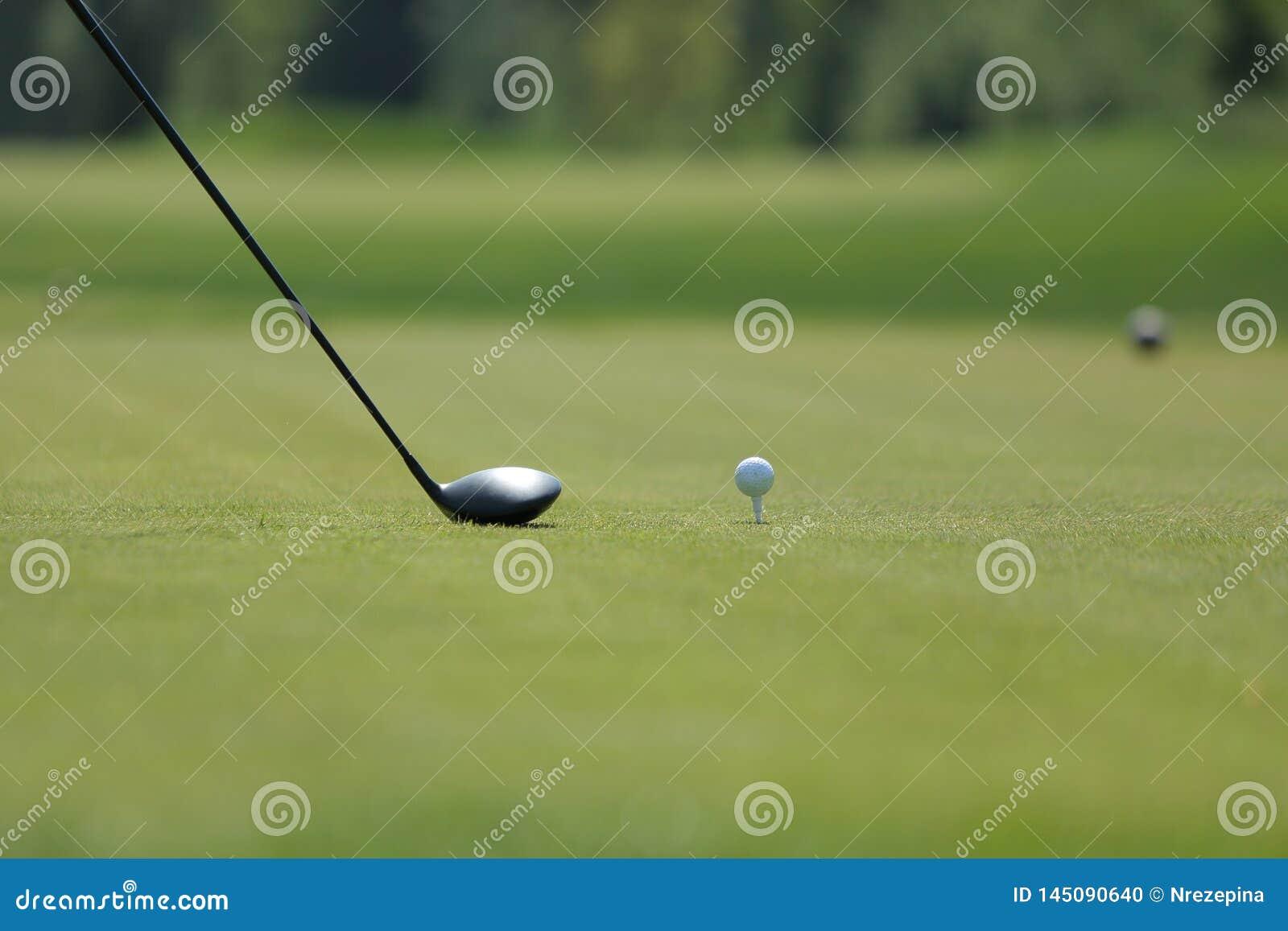 与球的高尔夫球司机在高尔夫球场的一个发球区域