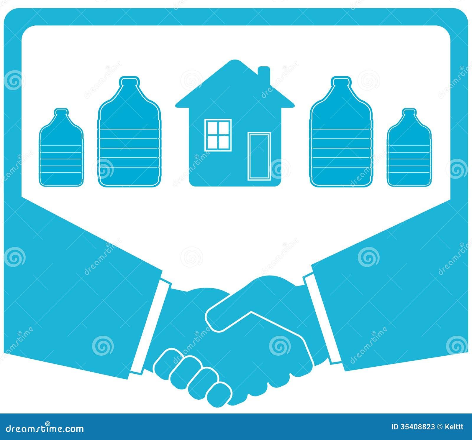 与瓶,握手,房子的浇灌的徽章