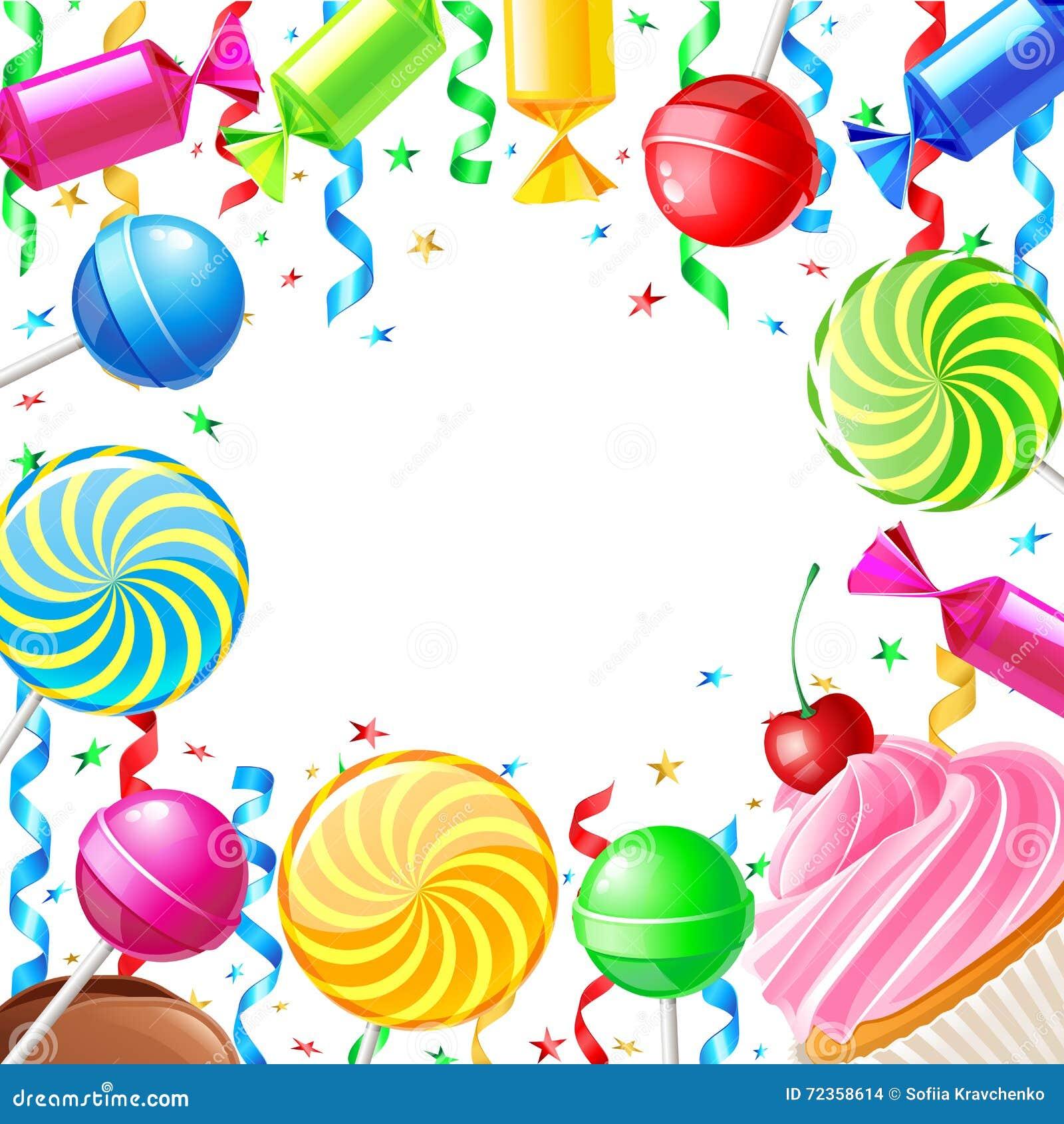 与甜点的生日背景 也corel凹道例证向量