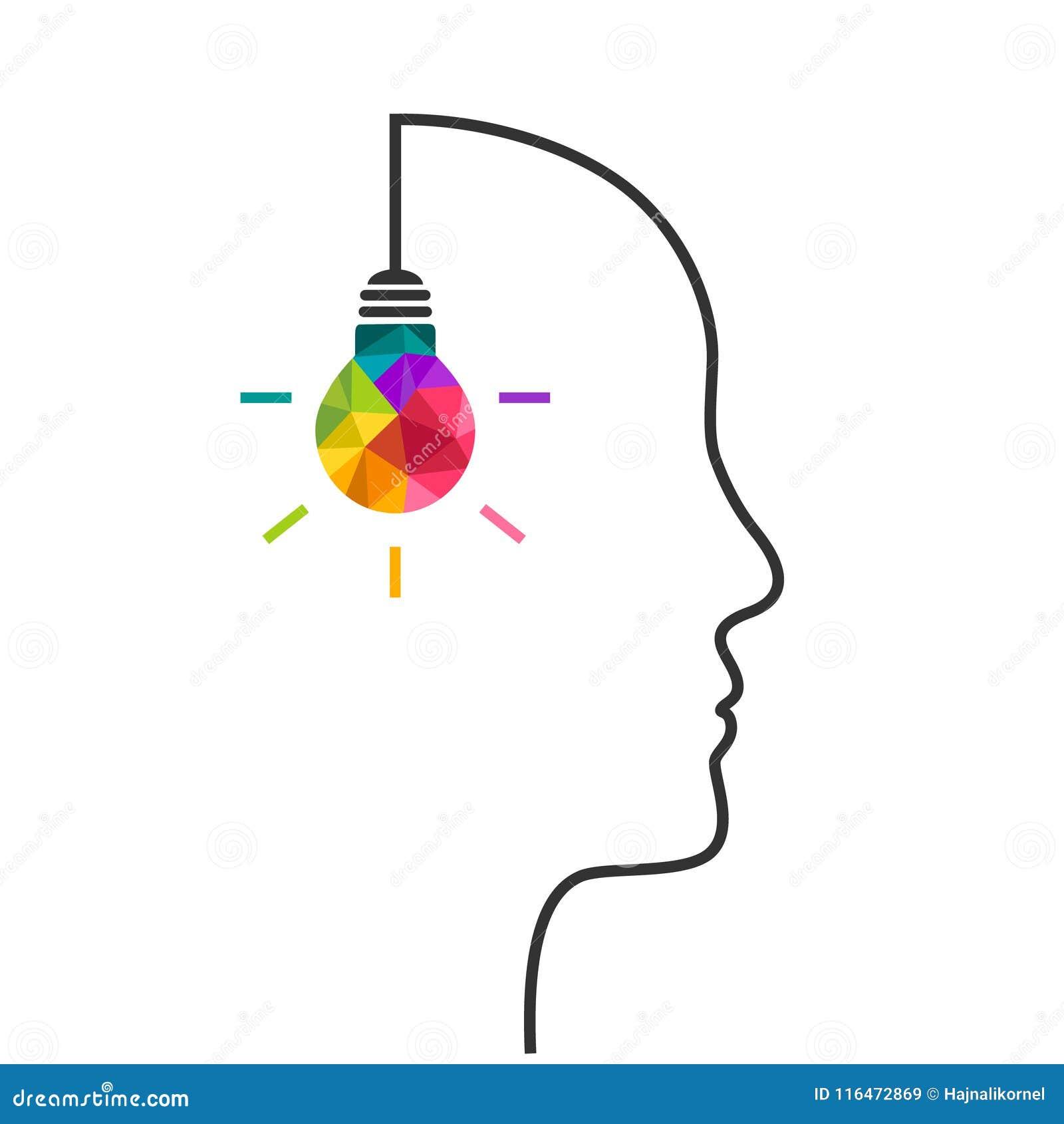 与电灯泡和头的创造性思为概念