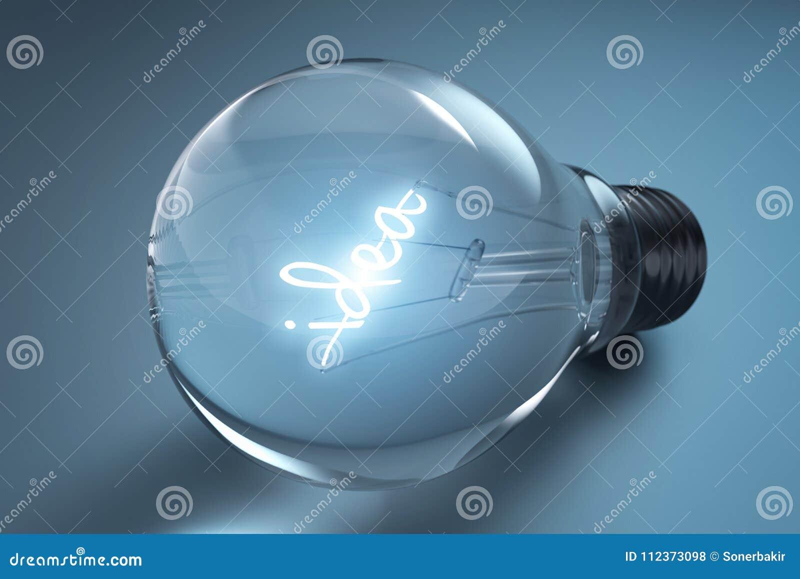 与电灯泡的想法概念在蓝色背景, 3d翻译
