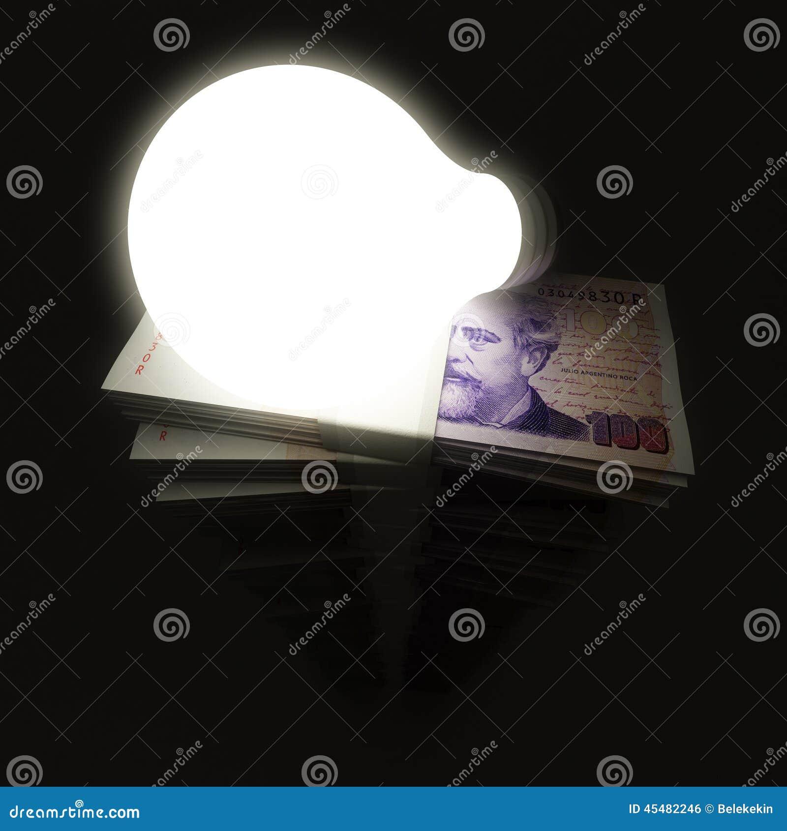 与电灯泡的阿根廷比索堆