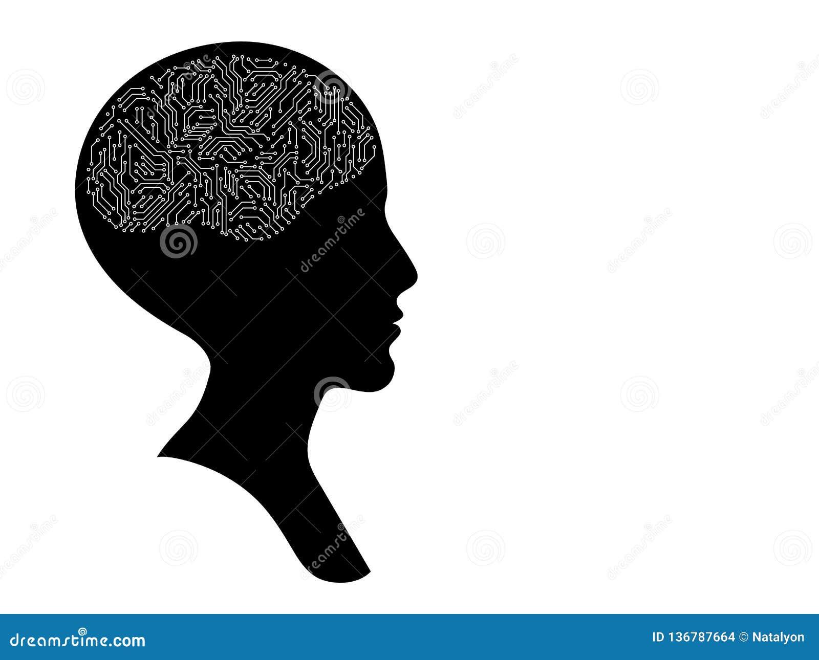 与电路板脑子,黑白人为智力概念的秃头女性顶头外形剪影