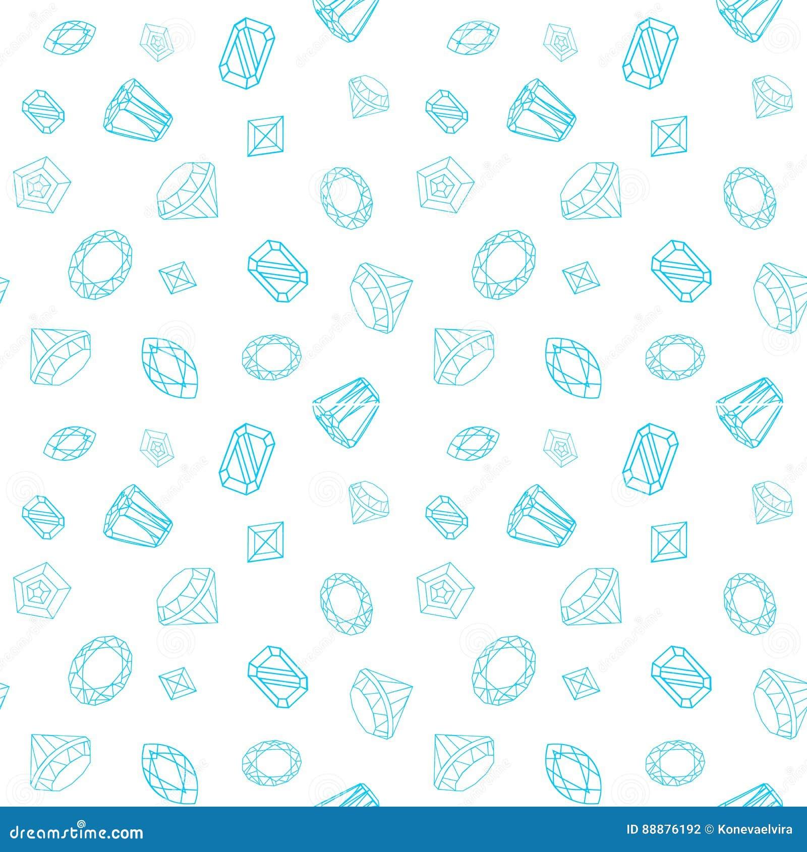 与疏散珍贵的宝石的无缝的样式从在白色背景的不同的裁减 也corel凹道例证向量