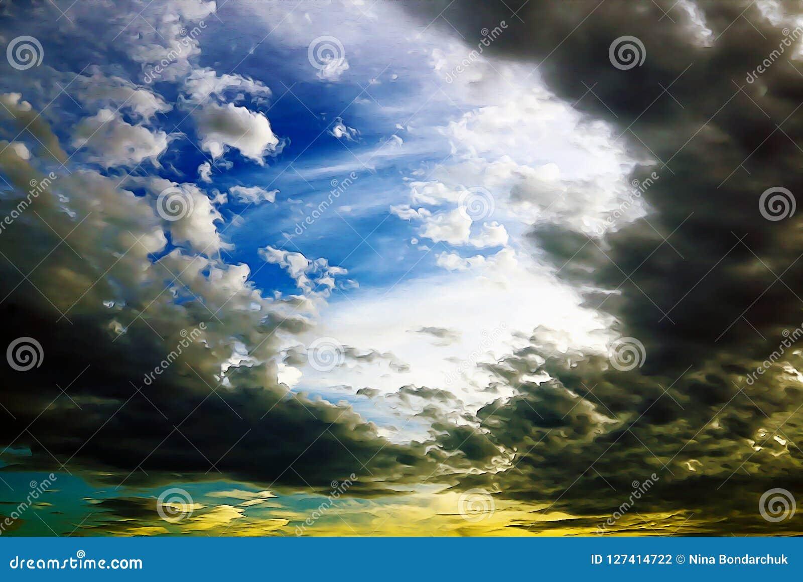 与白色和黑暗的云彩的明亮的蓝天在油pai的sunse