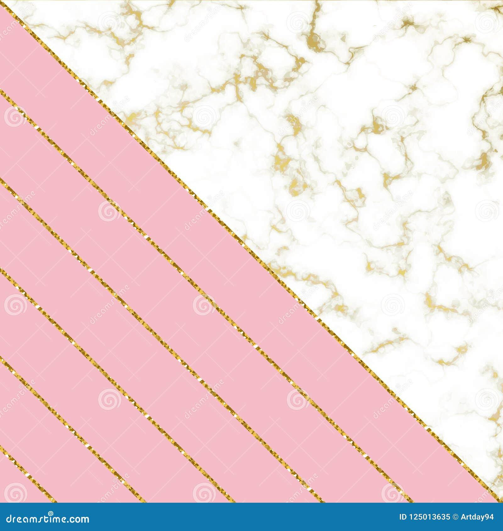 与白色大理石纹理和桃红色和金子闪烁线的现代背景 模板为假日设计,拟订,邀请,党