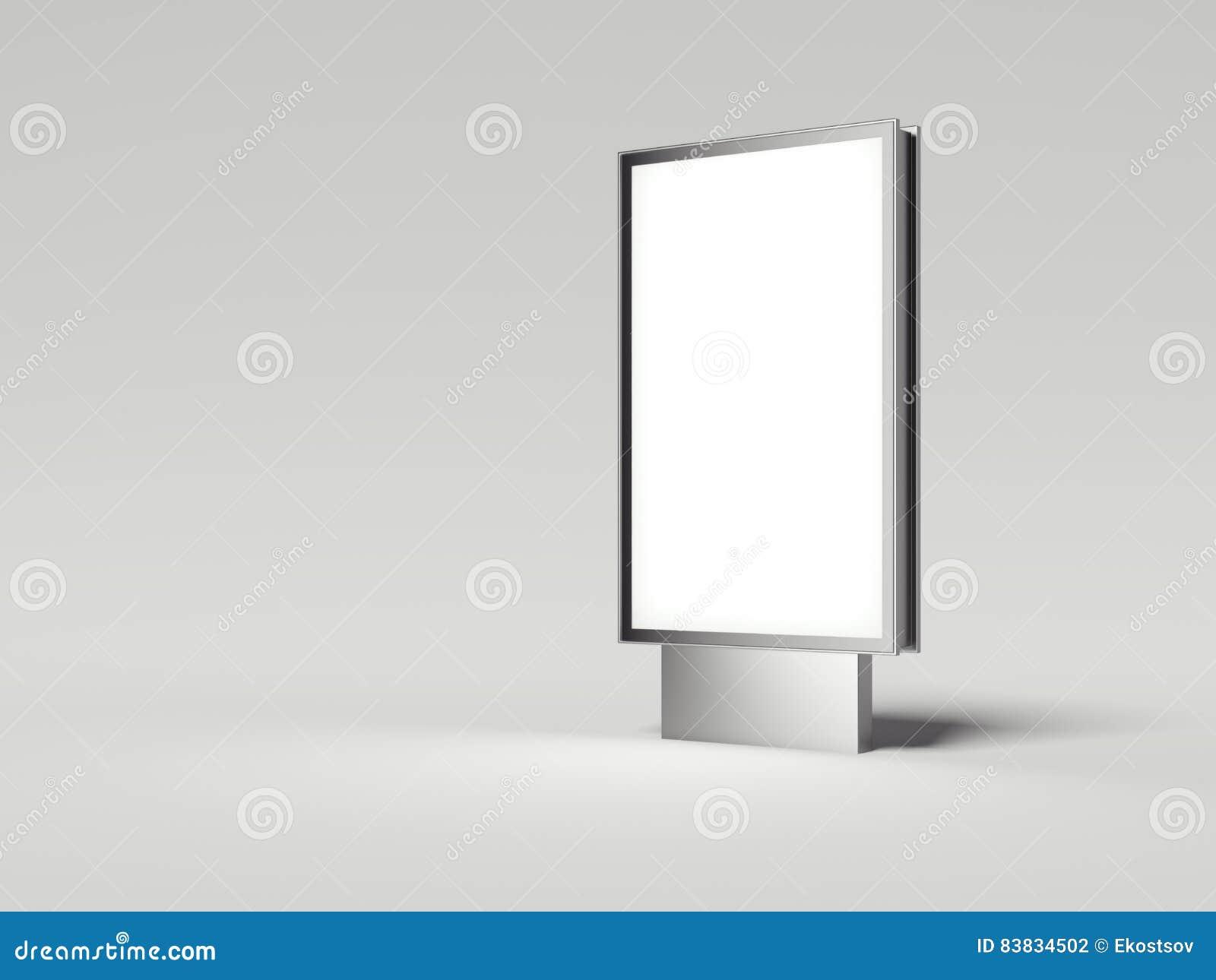 与白色屏幕的银色广告牌 3d翻译